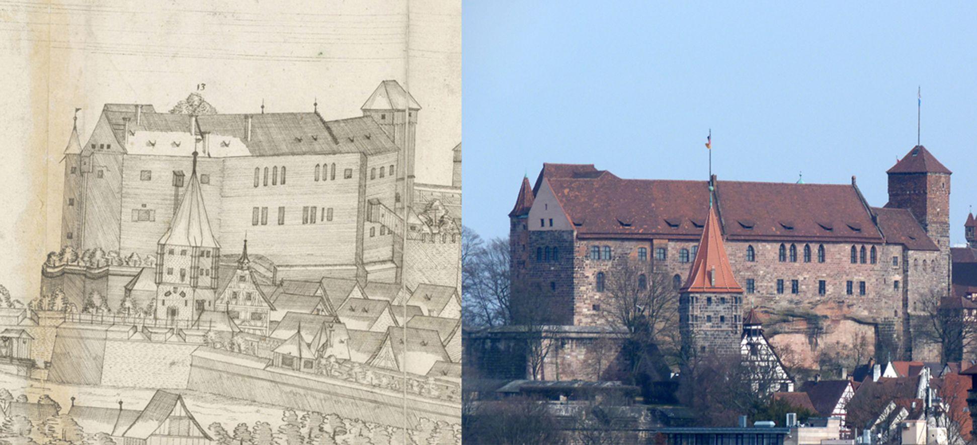 Panoramadarstellung der Stadt Nürnberg von Westen Gegenüberstellung Zeichnungsdetail Neutorgraben, Tiergärtnertorturm, Burgpalas, -kapelle mit Heidenturm und dem heutigem Zustand