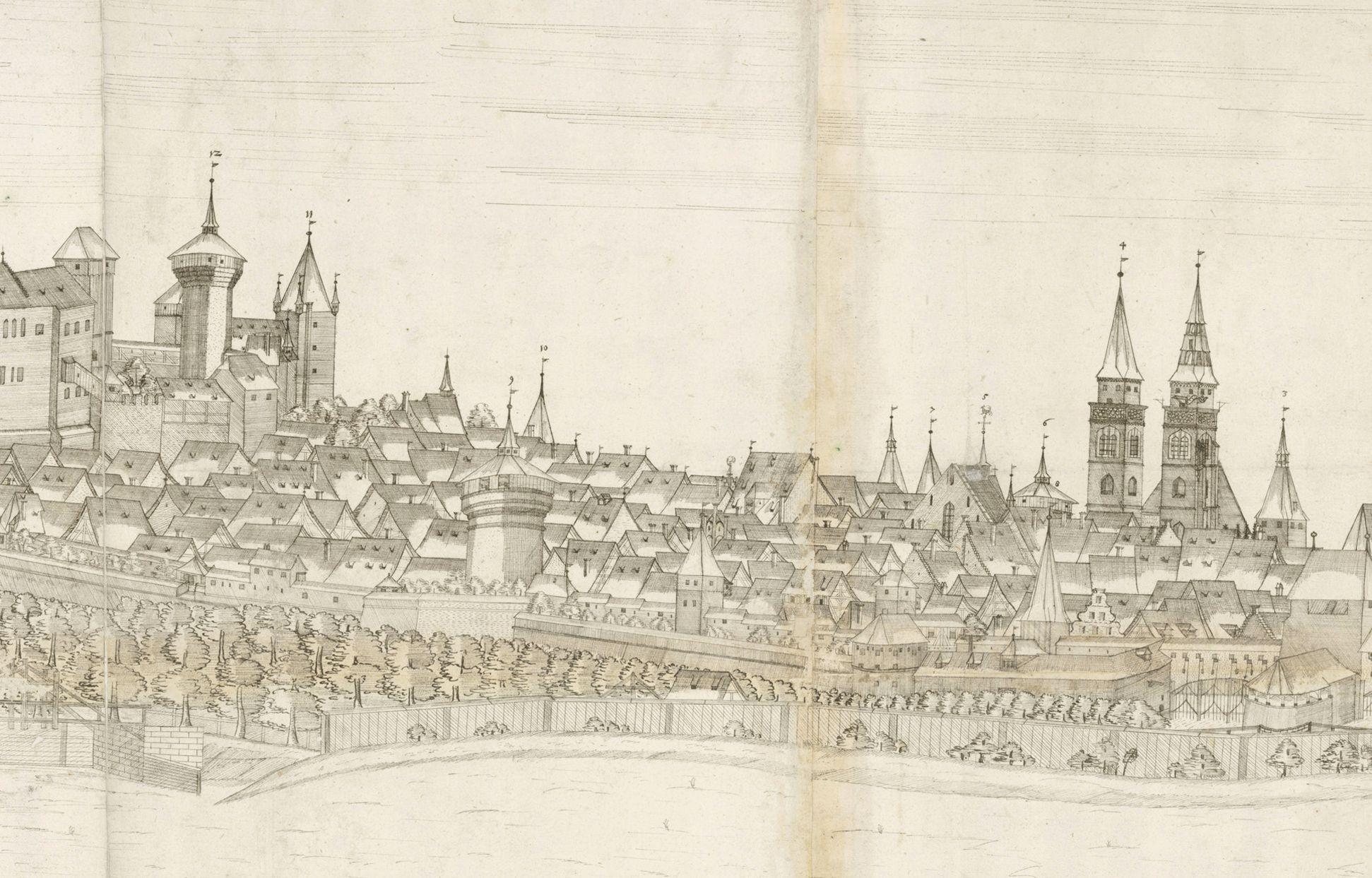 Panoramadarstellung der Stadt Nürnberg von Westen Detail vom mittleren Drittel der Zeichnung mit Heidenturm, Sinwellturm, Luginsland, Neutor (unten) und Sankt Sebald