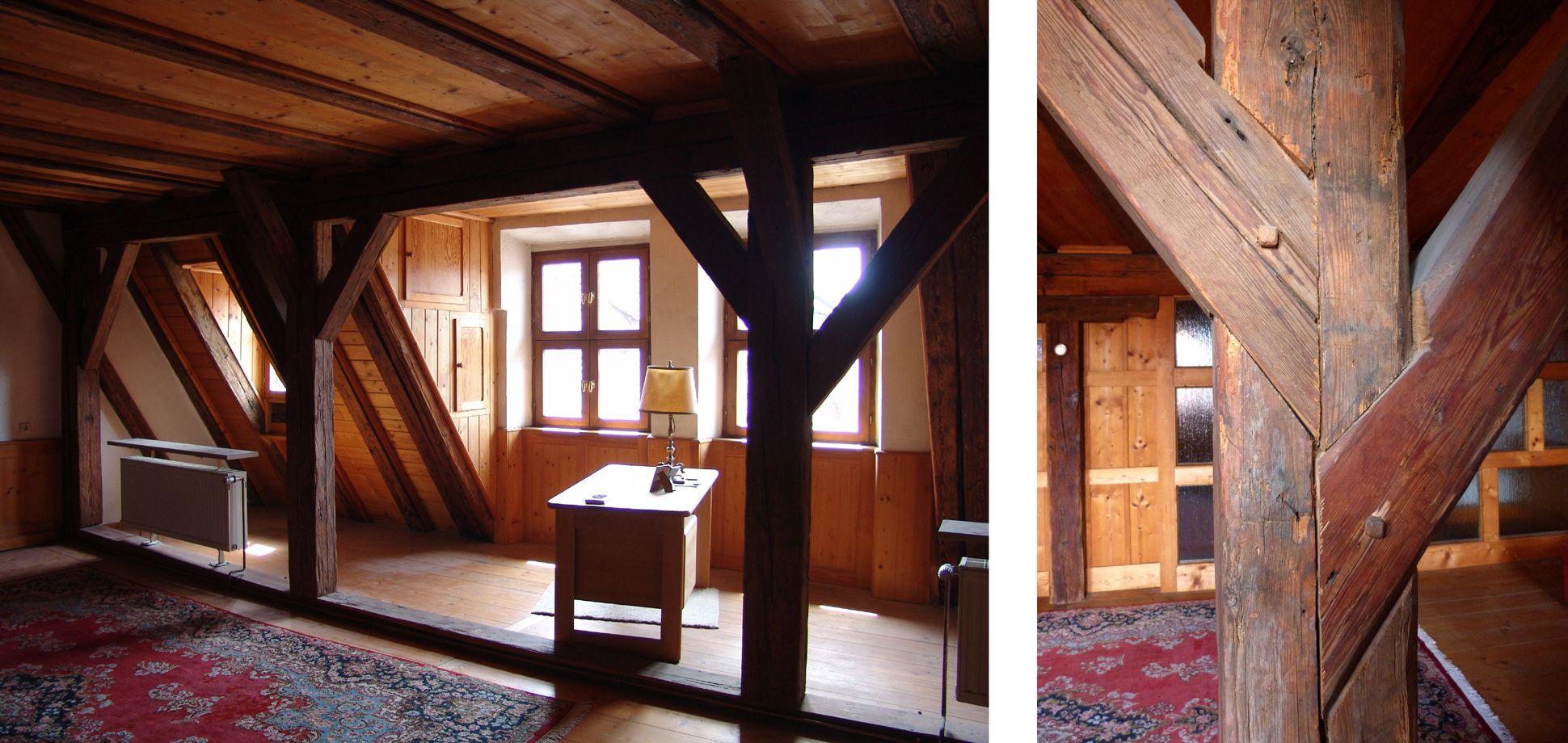 Haus Obere Krämersgasse 12 (Privatbesitz, nicht zu besichtigen) Innenraum des Zwerchhauses von 1399, rechts die typisch gotischen Verblattungen.