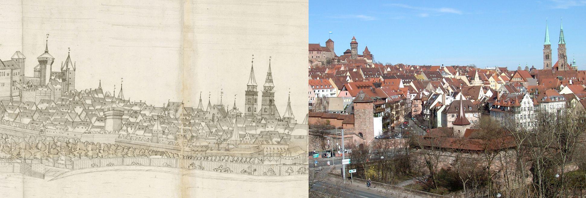 Panoramadarstellung der Stadt Nürnberg von Westen Gegenüberstellung Detail vom mittleren Drittel der Zeichnung mit Heidenturm, Sinwellturm, Luginsland, Neutor (unten) und Sankt Sebald und dem heutigen Zustand