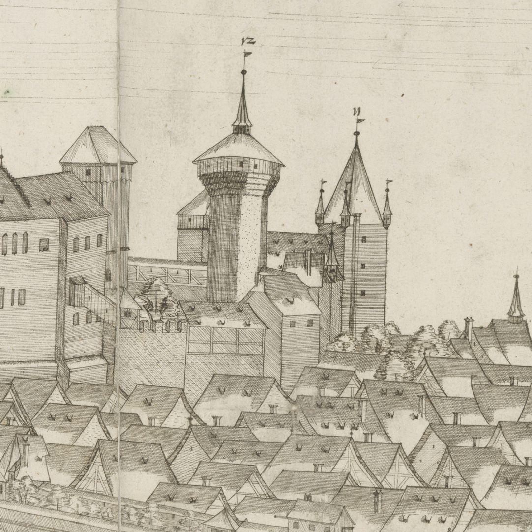 Panoramadarstellung der Stadt Nürnberg von Westen Detail Burg
