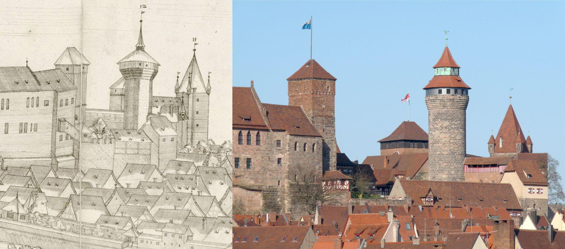 Panoramadarstellung der Stadt Nürnberg von Westen Gegenüberstellung Detail Burg und heutiger Zustand