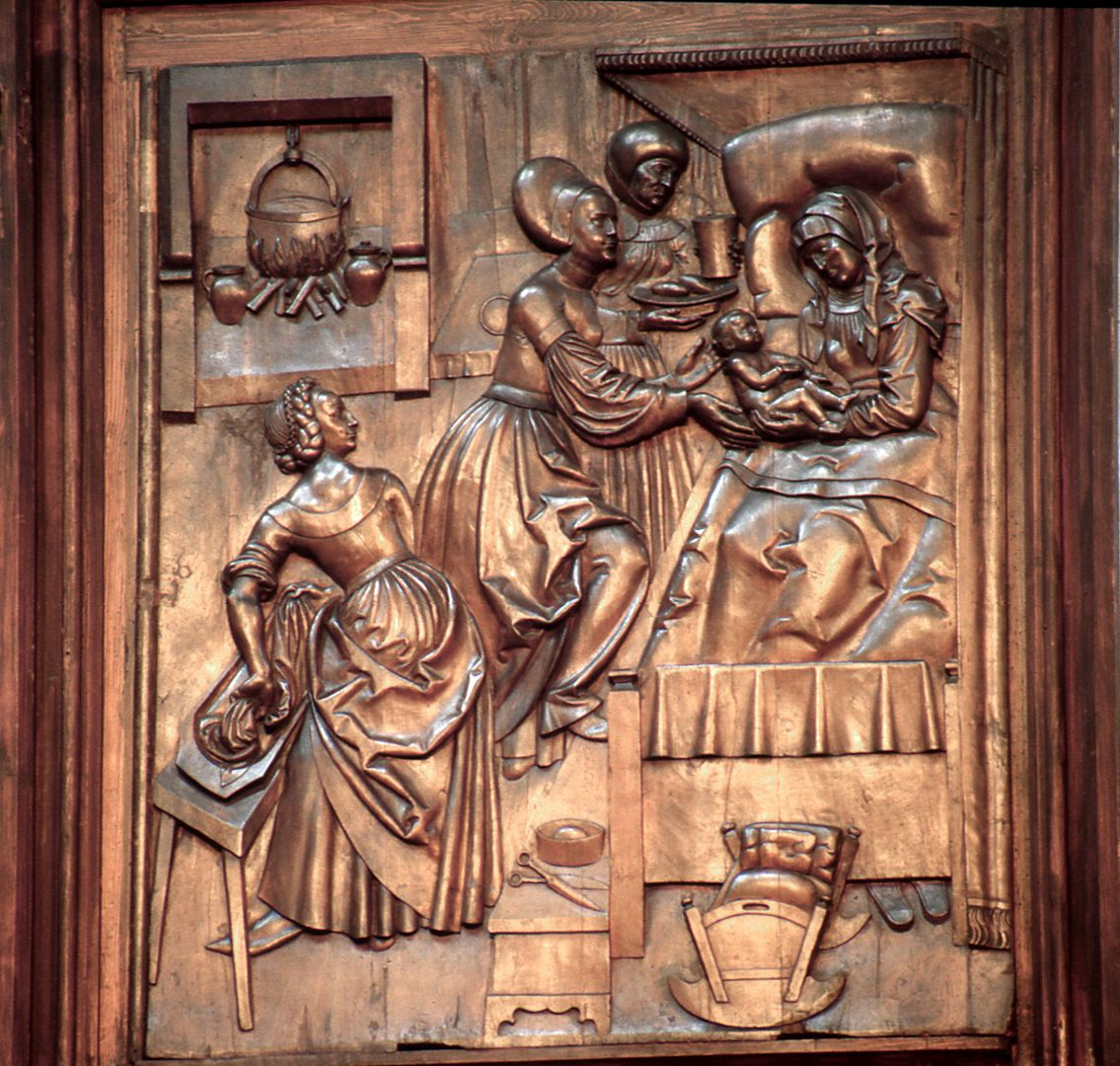 Retabel aus der ehemaligen Karmelitenkirche Flügel, Geburt der Maria