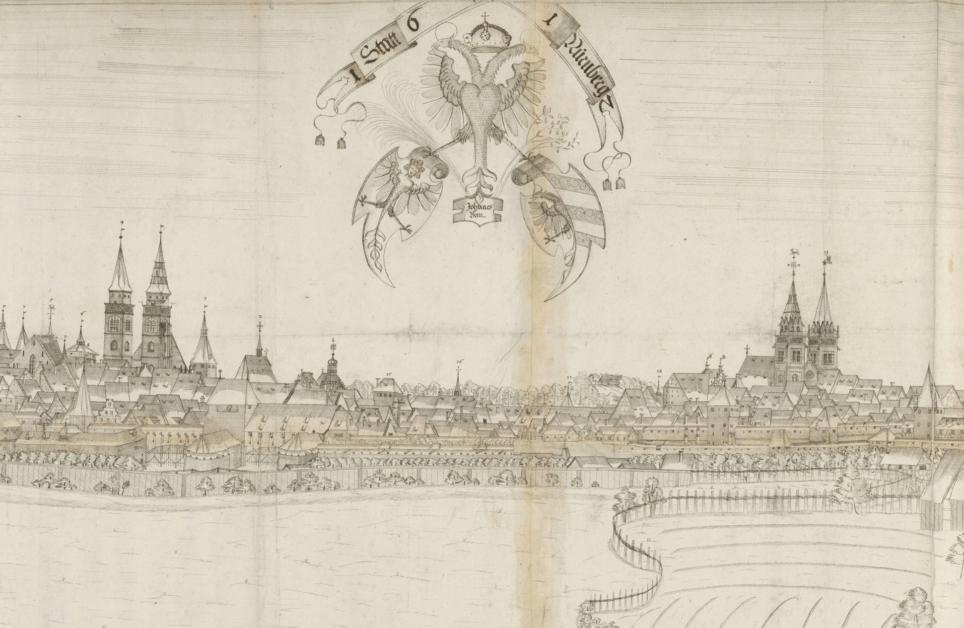 Panoramadarstellung der Stadt Nürnberg von Westen Detail vom Mittelbereich mit den beiden Hauptkirchen und Wappendreiverein