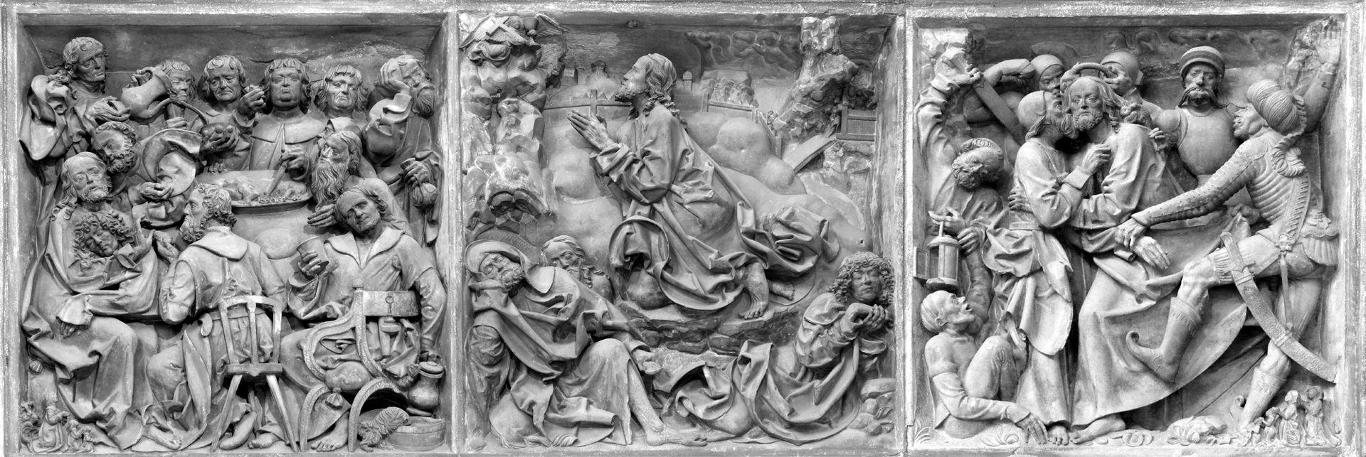 Volckamersche Gedächtnisstiftung, Reliefplatten Reliefplatten von l. nach r.: Letztes Abendmahl, Ölberggebet, Gefangennahme