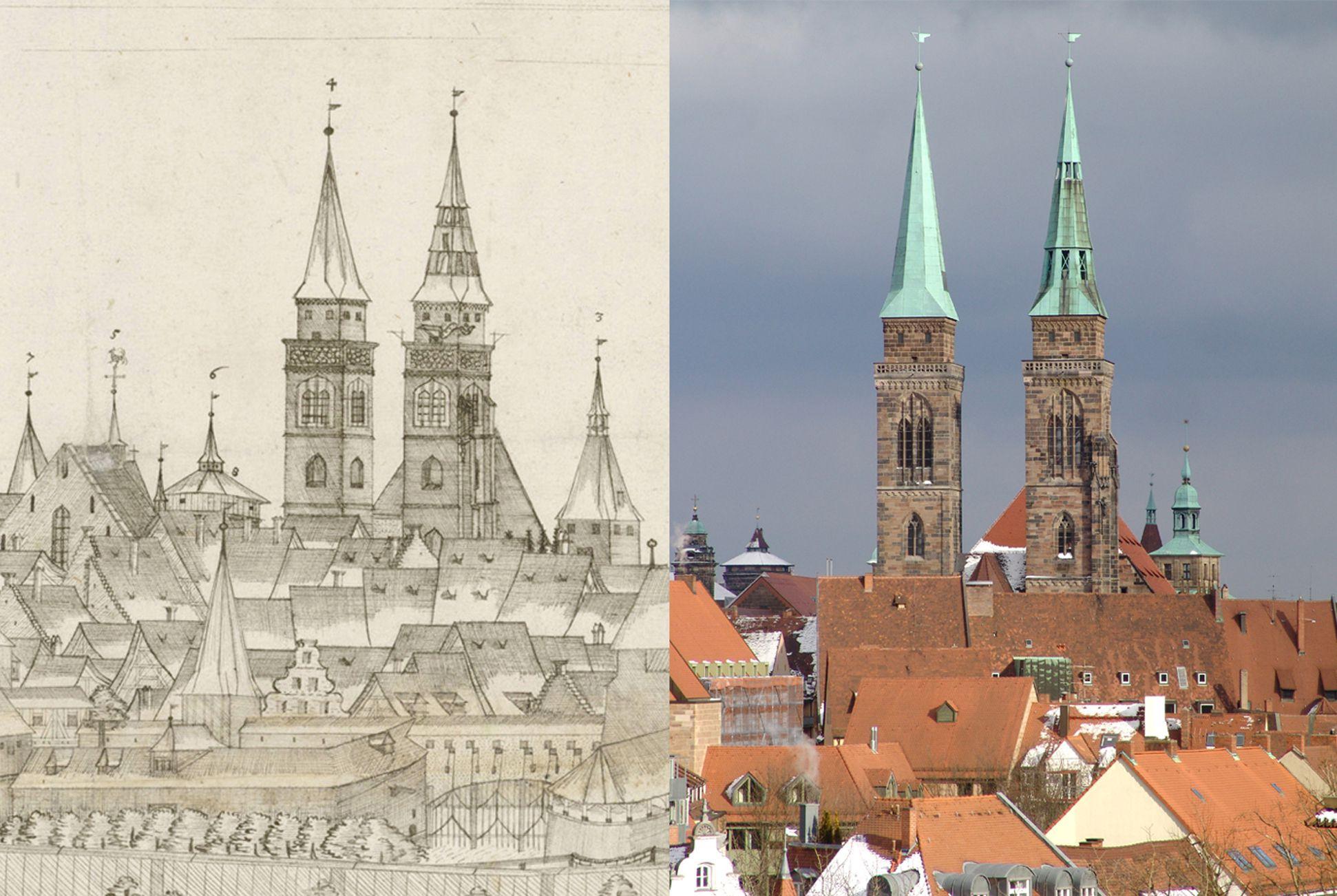 Panoramadarstellung der Stadt Nürnberg von Westen Gegenüberstellung Detail Sankt Sebald und heutiger Zustand (man beachte auf dem Foto rechts von Sebald den mittleren Helm des Wolffschen Rathauses)