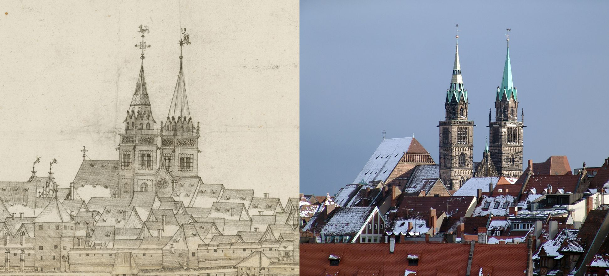 Panoramadarstellung der Stadt Nürnberg von Westen Gegenüberstellung Detail Sankt Lorenz und heutiger Zustand