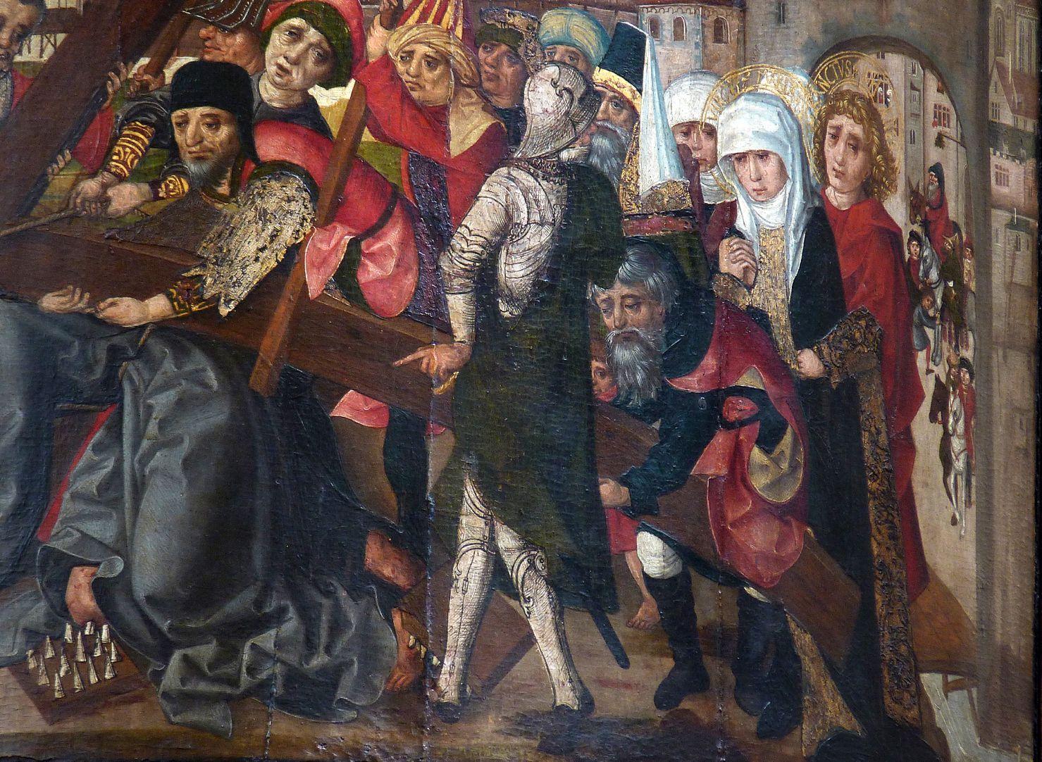 Thanhauser Epitaph Kreuztragung, Detail der Menschenmenge mit Maria und Johannes