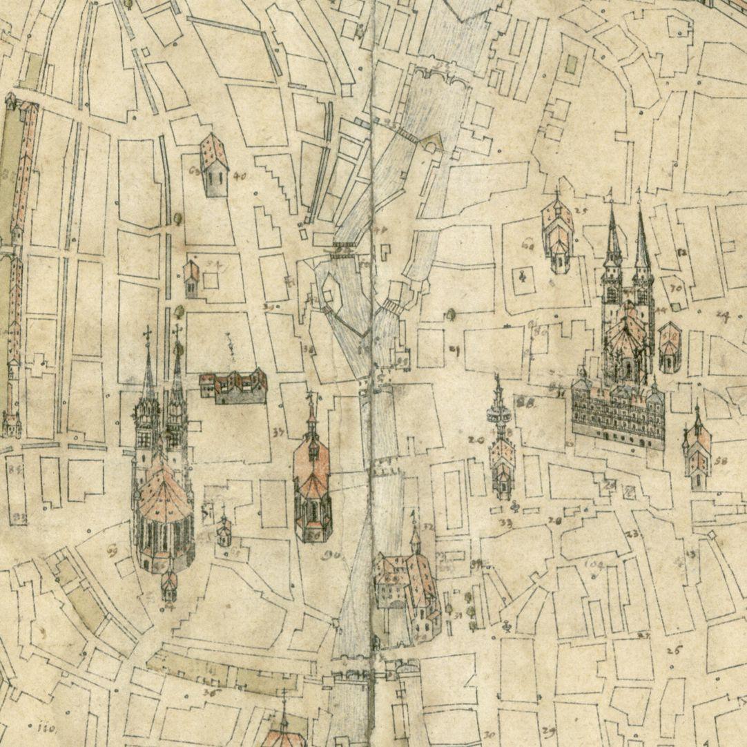 Steilaufsicht von Osten Kernbereich der Karte mit Sakral- und öffentlichen Bauten