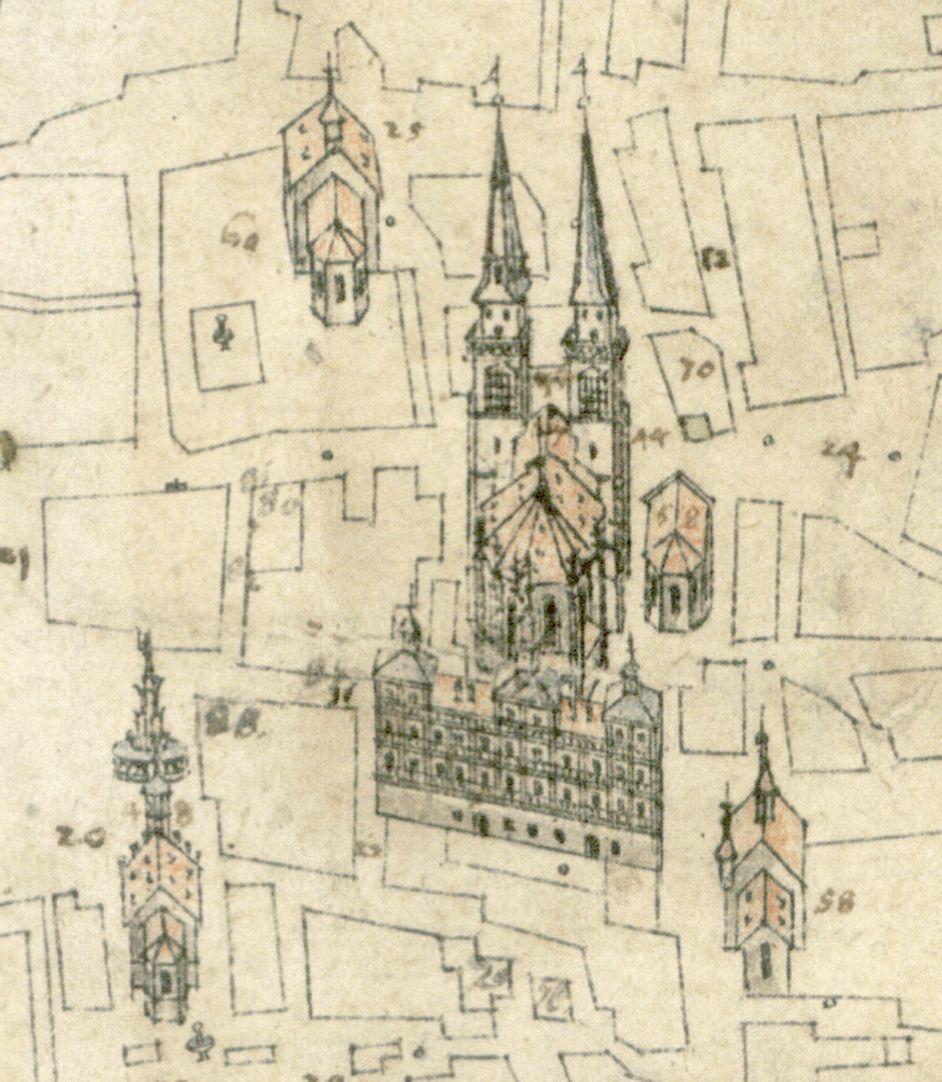 Steilaufsicht von Osten St. Sebald (davor das Wolffsche Rathaus mit zur besseren Erkennbarkeit nach hinten gedrehter Fassade); u. links die Frauenkirche mit dem Schönen Brunnen; oben die Augustinerkirche; rechts der Sebalduskirche die Moritzkapelle; u. rechts Dominikanerkirche