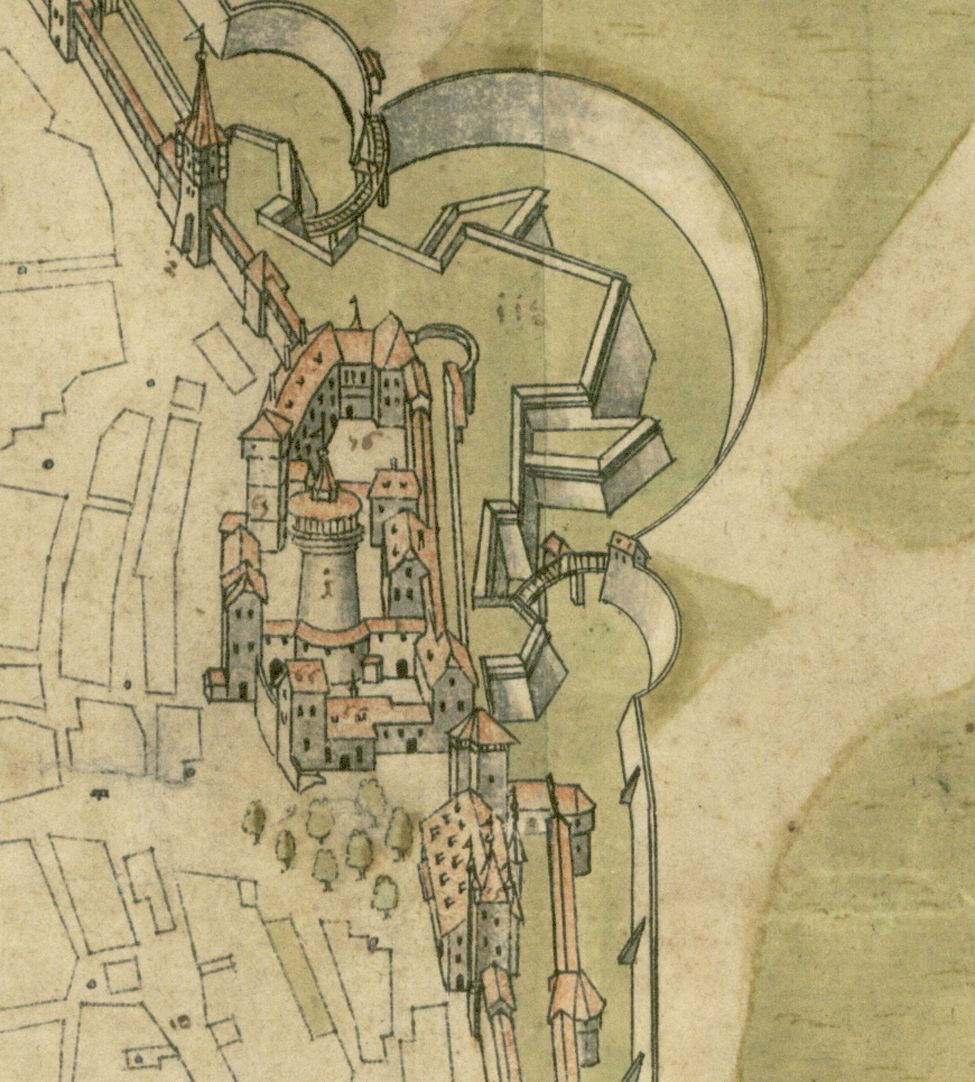 Steilaufsicht von Osten Detail mit Burgbereich samt Basteien