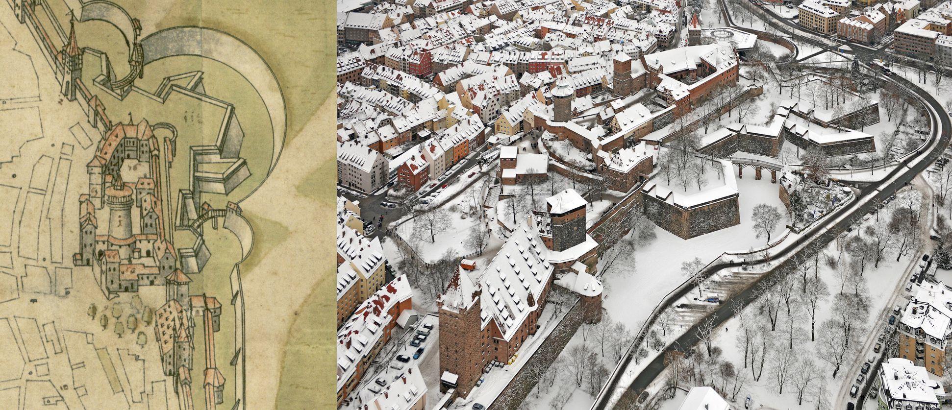 Steilaufsicht von Osten Burgbereich samt Basteien, Gegenüberstellung Bien (streng geostete Ansicht) und Luftfoto (Nordostansicht)
