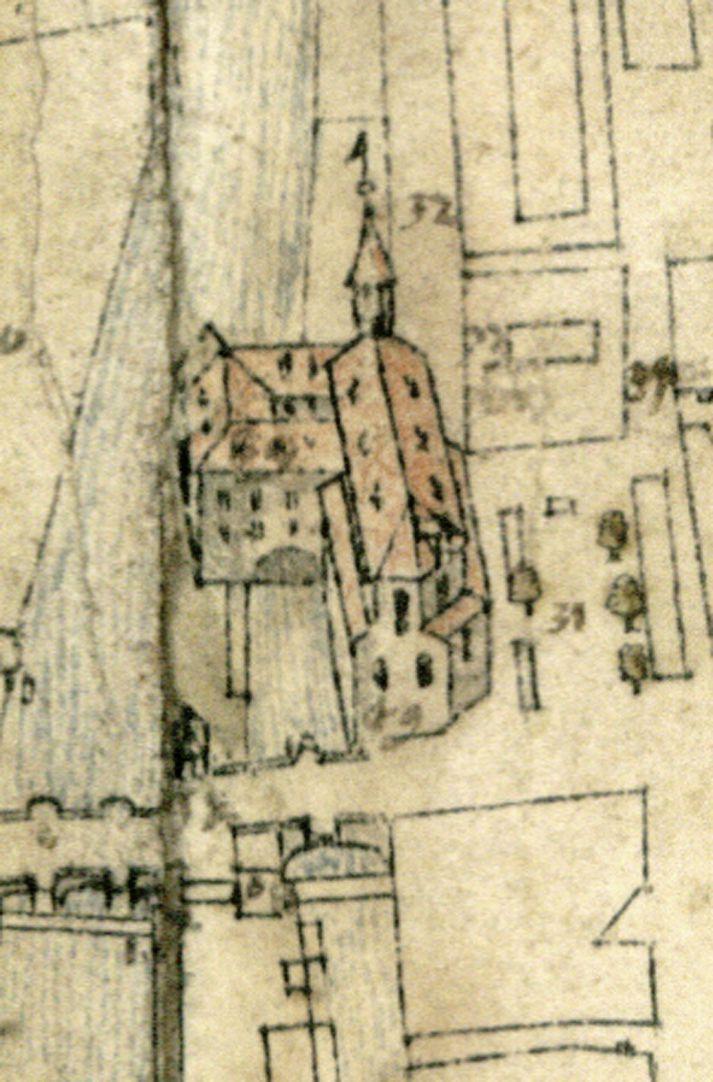 Steilaufsicht von Osten Detail Heilig-Geist-Spital und -Kirche