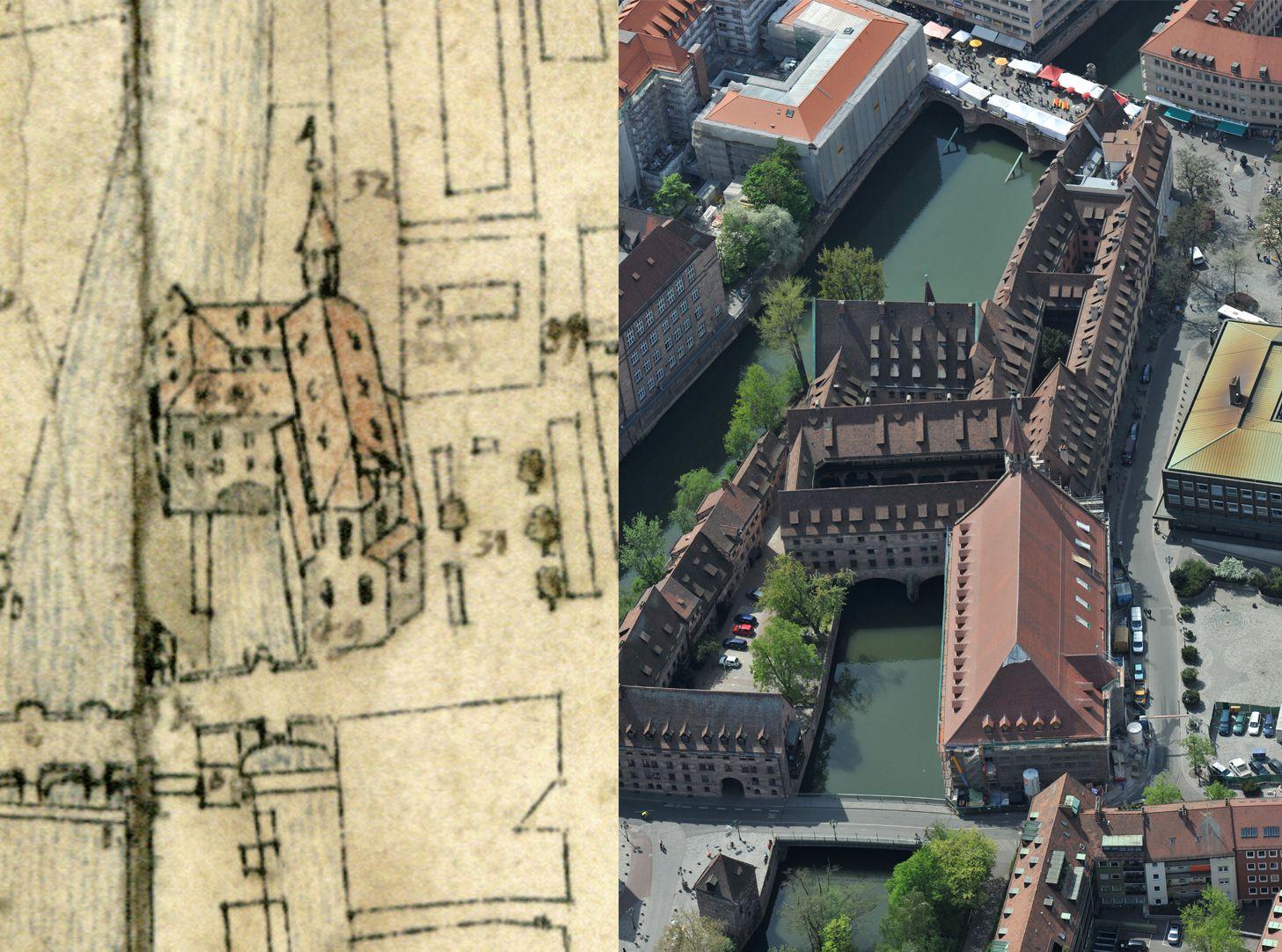 Steilaufsicht von Osten Gegenüberstellung Bien und Luftfoto (Heilig-Geist-Spital und -Kirche)