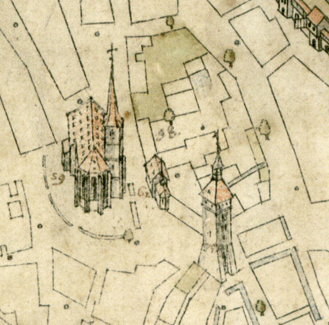 Steilaufsicht von Osten Bereich Weißer Turm / Deutschordenskommende: von rechts nach links Weißer Turm, Elisabethkapelle und Jakobskirche