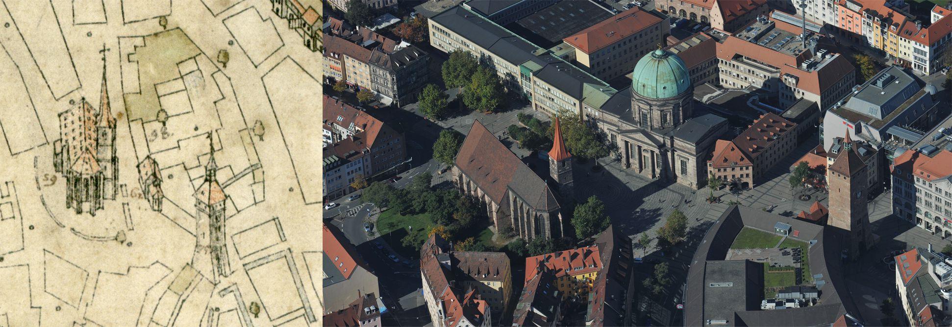 Steilaufsicht von Osten Gegenüberstellung Bien und Luftfoto (von rechts nach links Weißer Turm, Elisabeths- und Jakobskirche