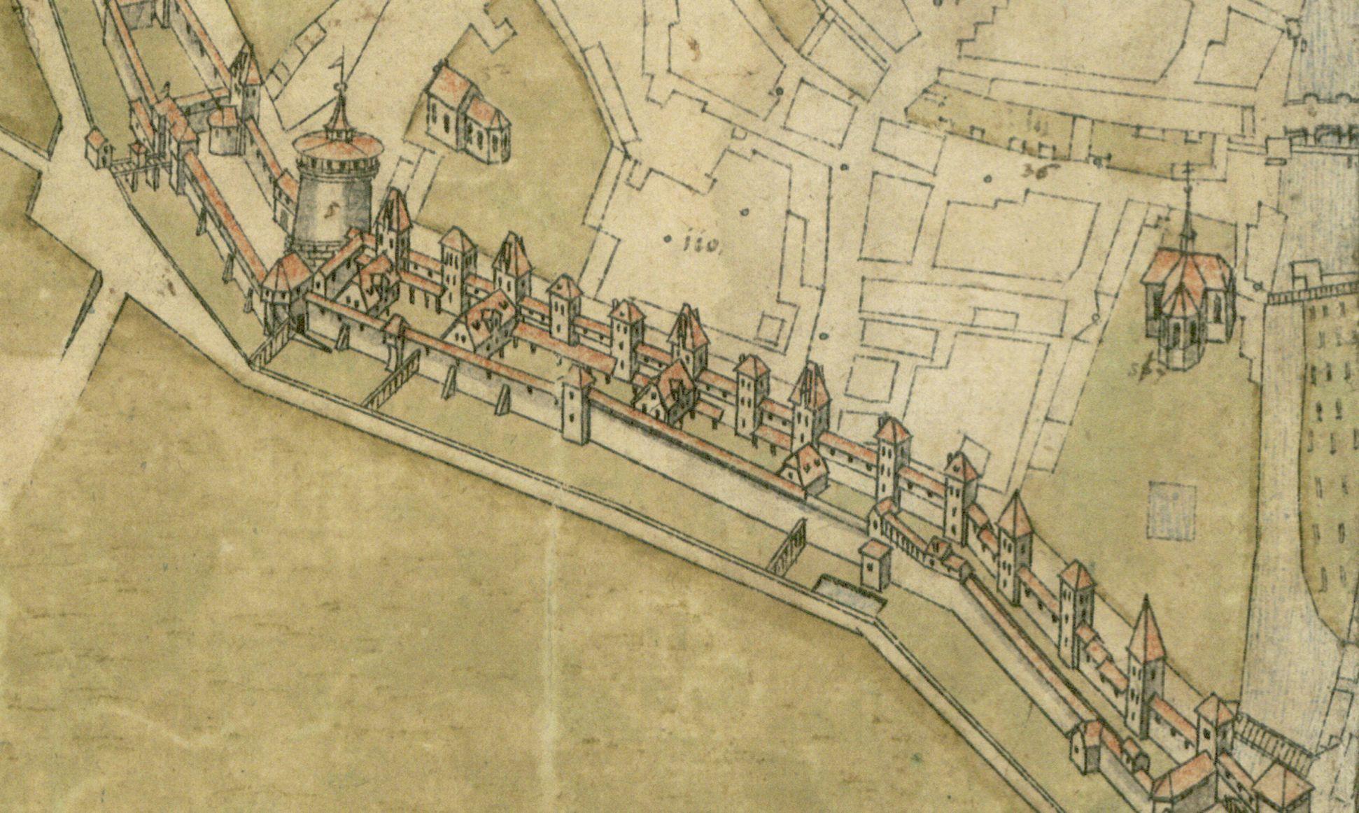 Steilaufsicht von Osten Detail Königstormauer mit Frauentor (links, daneben Marthakirche); rechts mittig die Heilig-Grab-Kapelle