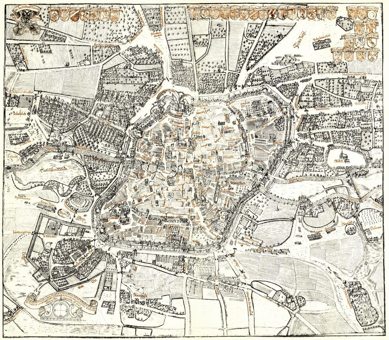 Kress´sche Karte von Nürnberg mit Landwehr Gesamtansicht von Süden