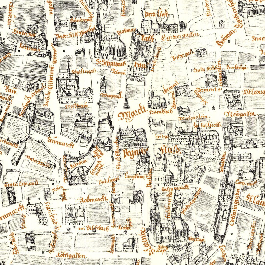 Kress´sche Karte von Nürnberg mit Landwehr Kernbereich der Karte