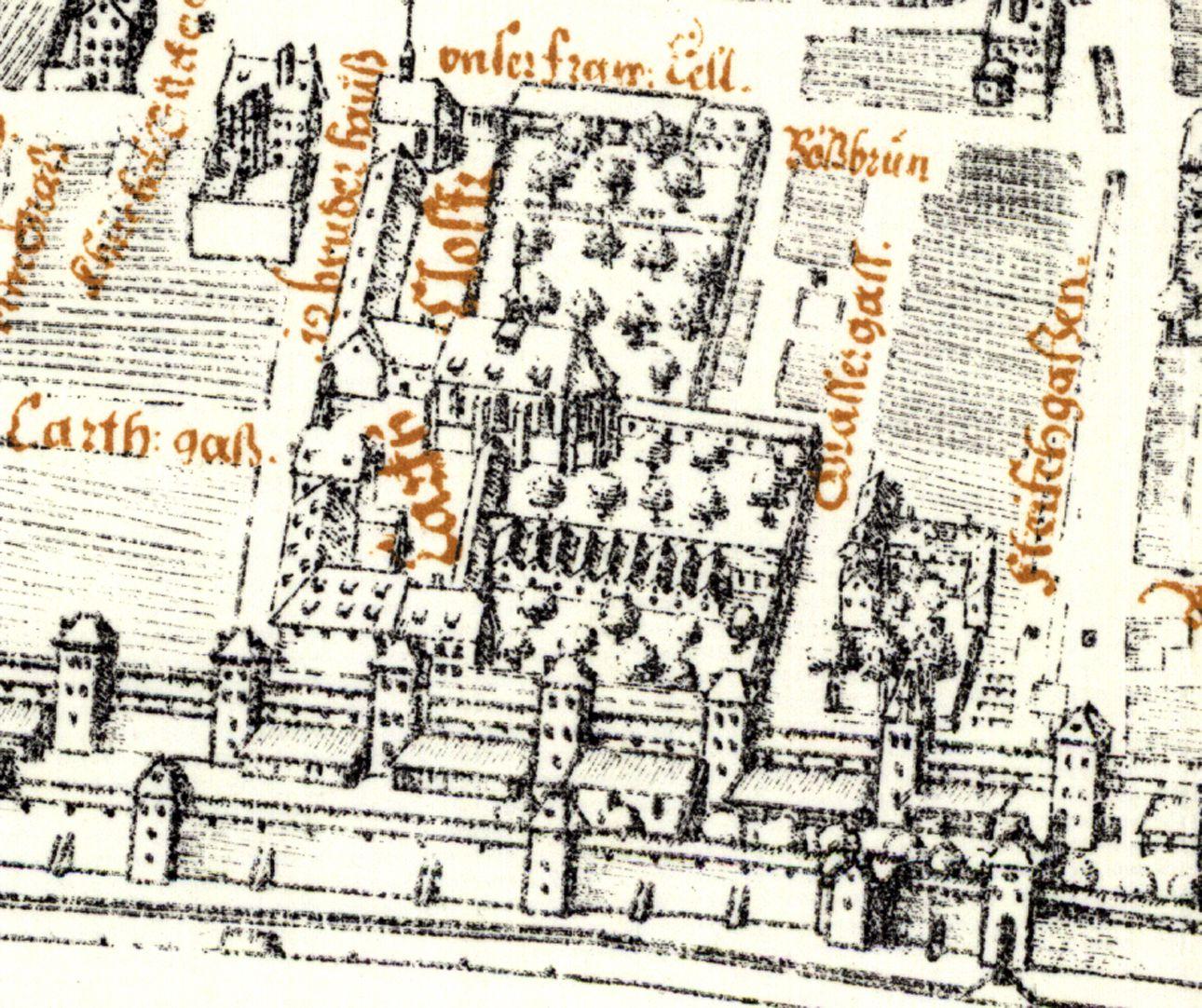 Kress´sche Karte von Nürnberg mit Landwehr Frauentormauer mit Areal des Kartäuserklosters