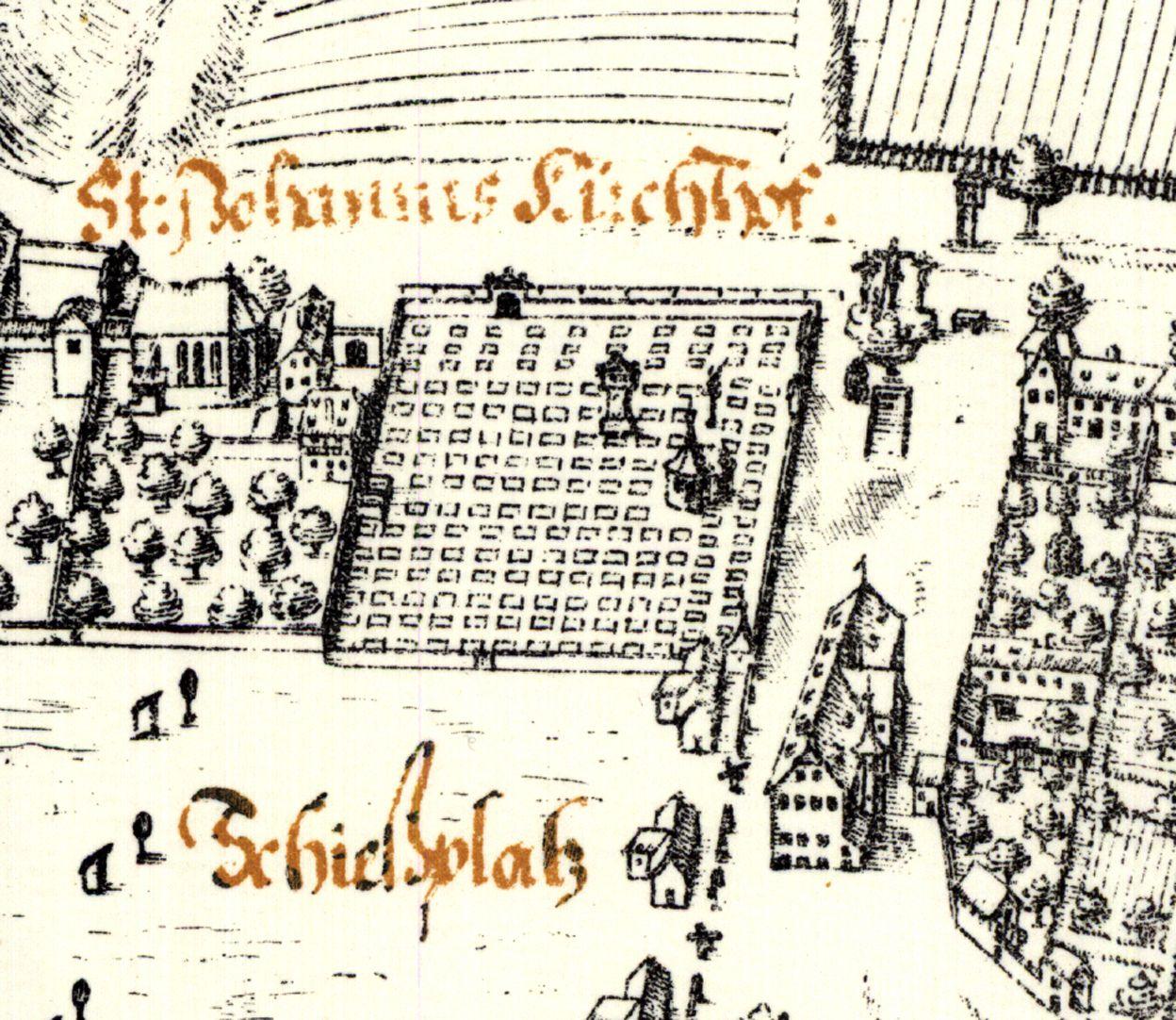 Kress´sche Karte von Nürnberg mit Landwehr Johannisfriedhof von Süden: Quadrat mit Holzschuherkapelle und Münzerscher Stele, durch eine Mauer abgetrennt die Johanniskirche. Rechts Gartenhäuser, dazwischen das ehemalige Schießhaus der Büchsenschützen
