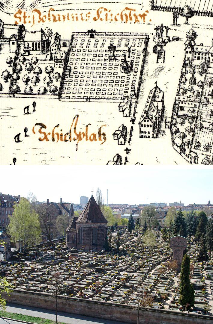 Kress´sche Karte von Nürnberg mit Landwehr Gegenüberstellung Bien und Foto des Friedhofs mit Holzschuherkapelle und Münzerscher Stele von Norden aus