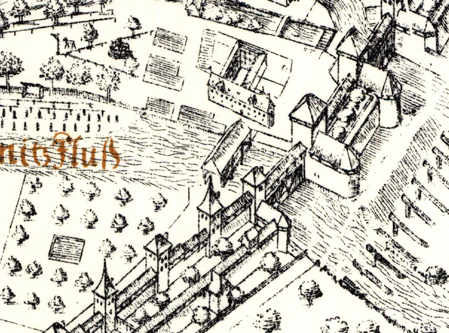 Kress´sche Karte von Nürnberg mit Landwehr Pegnitzeinfluß mit Kasemattentor und Kanonentürmen von 1559, links davon das alte Fechthaus