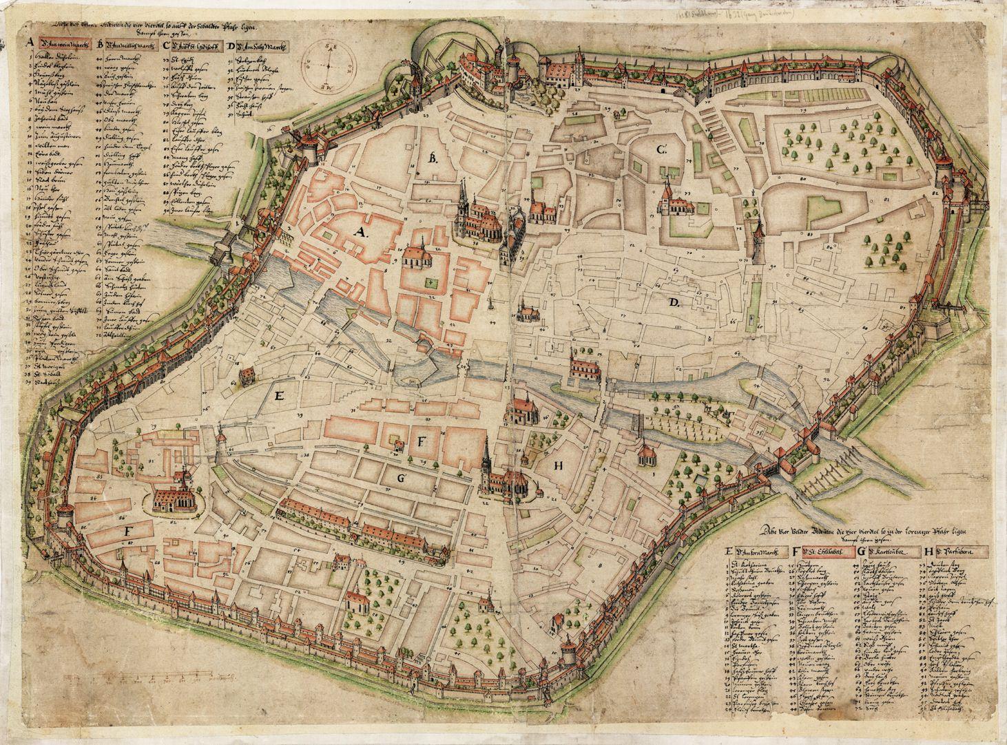 Nürnberg in Aufsicht von Süden Gesamt