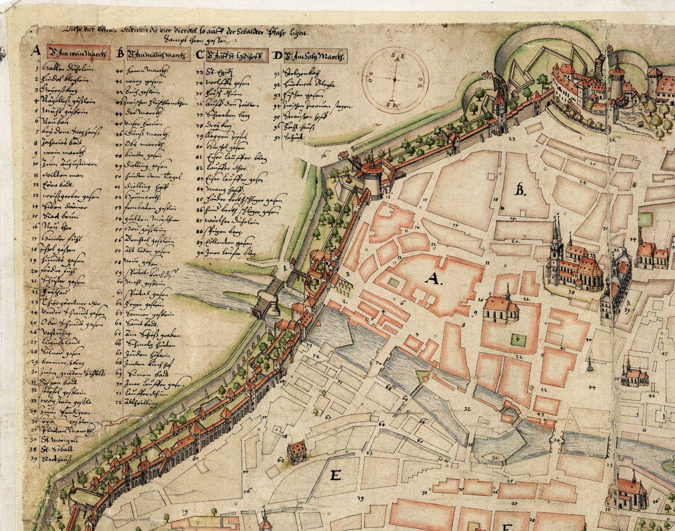 Nürnberg in Aufsicht von Süden linkes oberes Bildviertel mit Legende