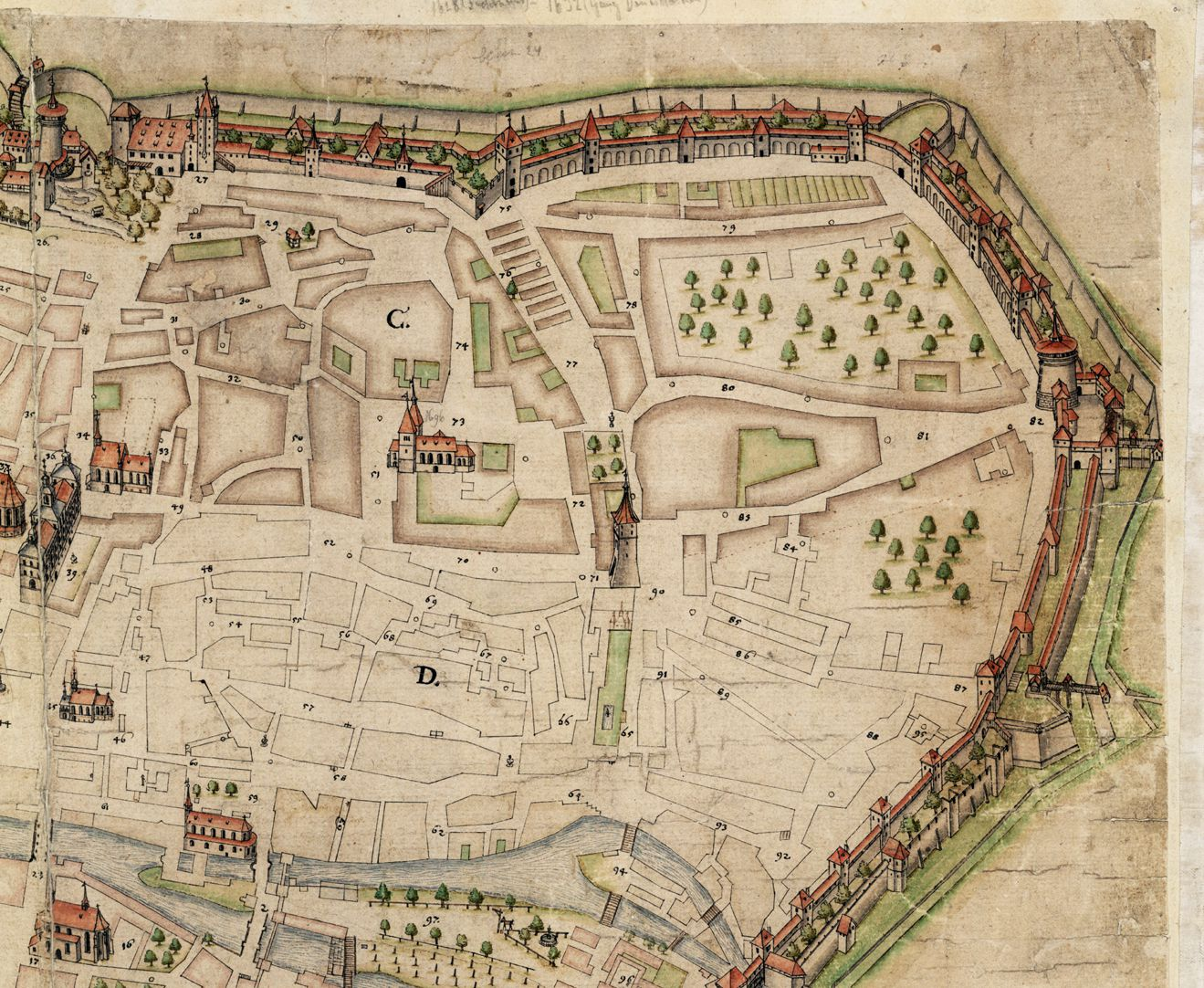 Nürnberg in Aufsicht von Süden rechtes oberes Bildviertel