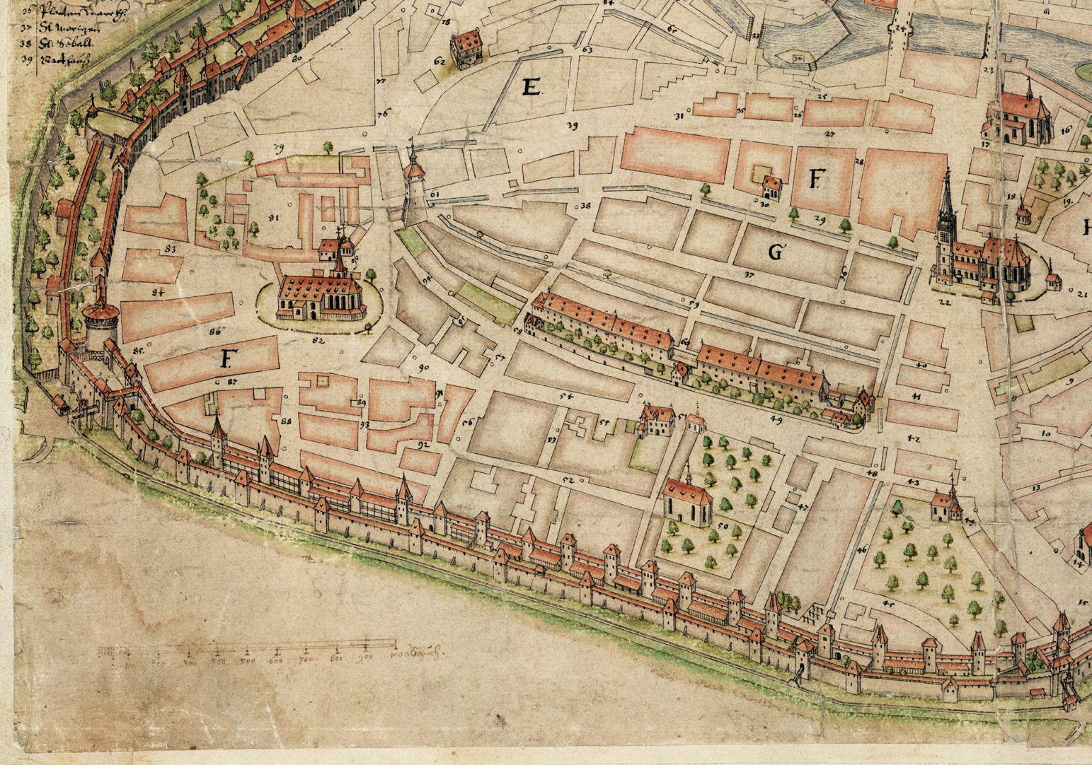 Nürnberg in Aufsicht von Süden linkes unteres Bildviertel