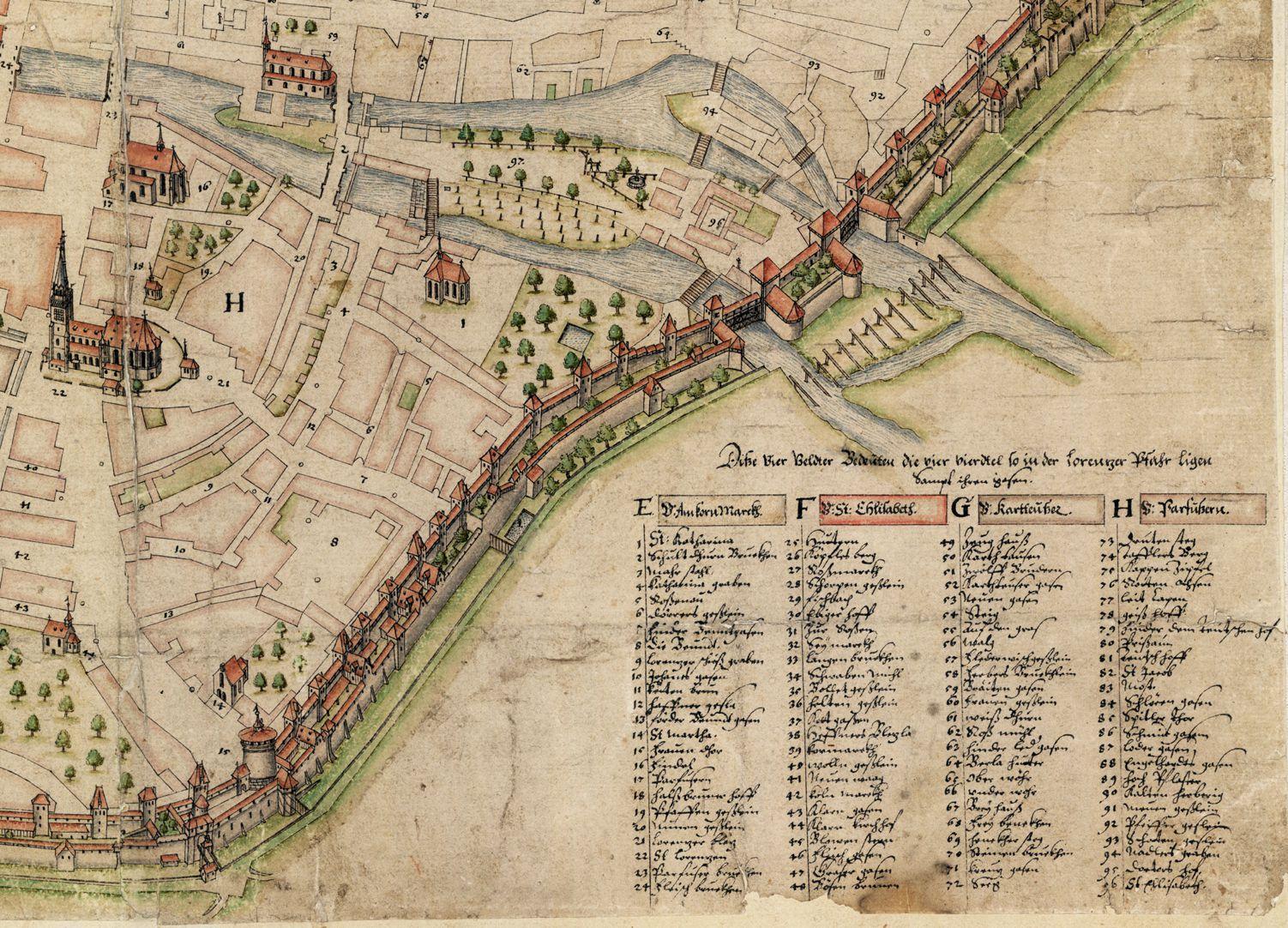 Nürnberg in Aufsicht von Süden rechtes unteres Bildviertel mit Bildlegende