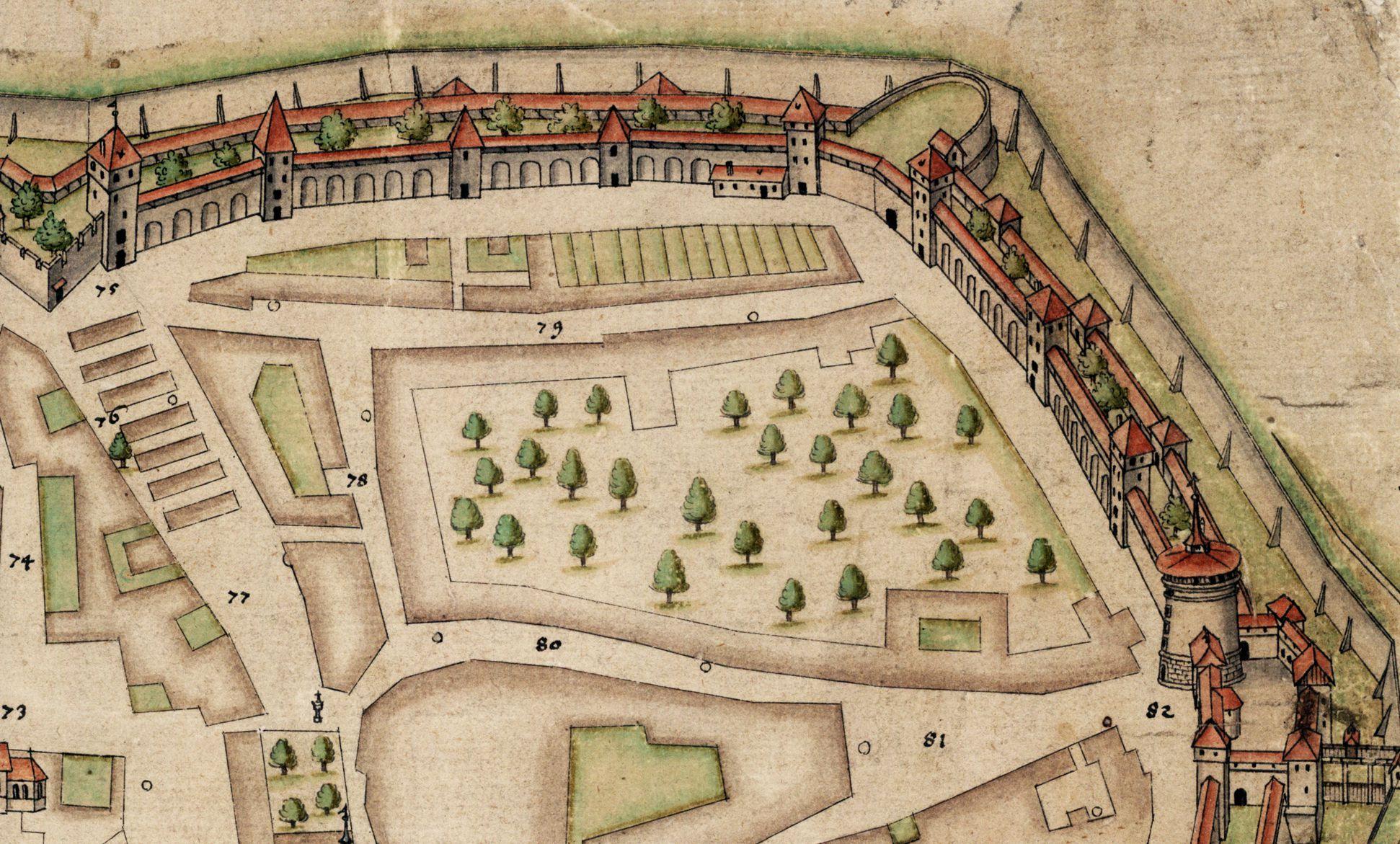 Nürnberg in Aufsicht von Süden Detail, Maxtormauer