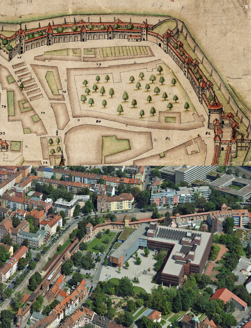 Nürnberg in Aufsicht von Süden Gegenüberstellung, Maxtormauer nach Bien und  heutiger Zustand: anstelle der alten Gärten Gebäudegruppe der Universität