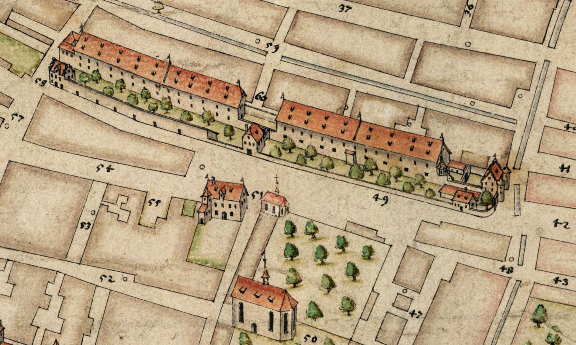 """Nürnberg in Aufsicht von Süden Kornhäuser am heutigen Kornmarkt (damals """"beim Mendelschen Zwölfbrüderhaus"""")"""