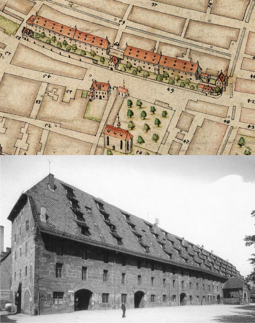 Nürnberg in Aufsicht von Süden Gegenüberstellung, Kornhäuser nach Bien und Zustand vor 1945 (Foto: Stadtarchiv Nürnberg A 91/III). Die heutige Bebauung hat diesen ehemals so wertvollen Platz zunichte gemacht.