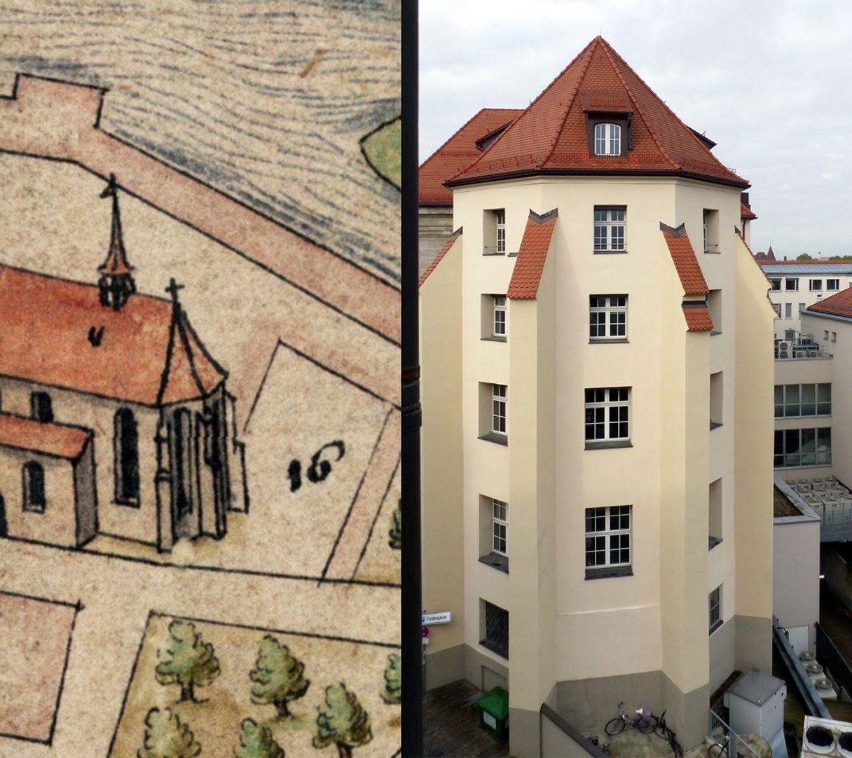 Nürnberg in Aufsicht von Süden Gegenüberstellung mit Chor der Barfüßerkirche nach Bien und heutigem Zustand (die Lanzettfenster der längst profanierten Kirche entsprechen vier Stockwerken der Hypovereinsbank).