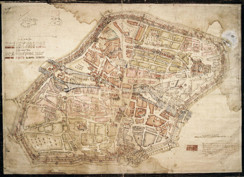 """""""Diese Stadt Nürnberg in ihrer Ringmauern....."""" Gesamtansicht: die Stadtgrundriss wurde nach links gekippt, d.h. die Steilaufsicht wurde von Nordwest dargestellt, dementsprechend entstand eine schräge Axonometrie"""