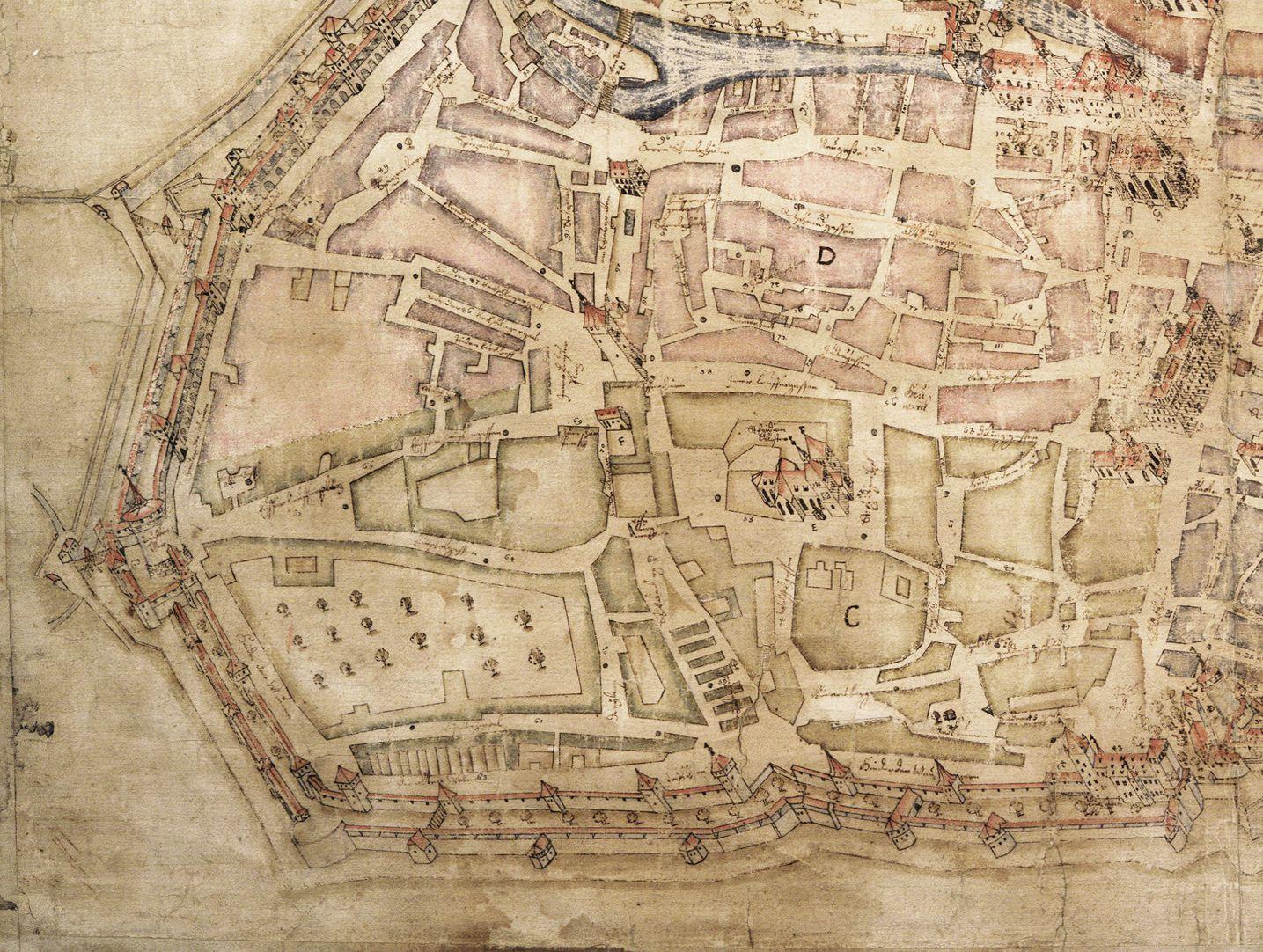 """""""Diese Stadt Nürnberg in ihrer Ringmauern....."""" linkes unteres Kartenviertel"""