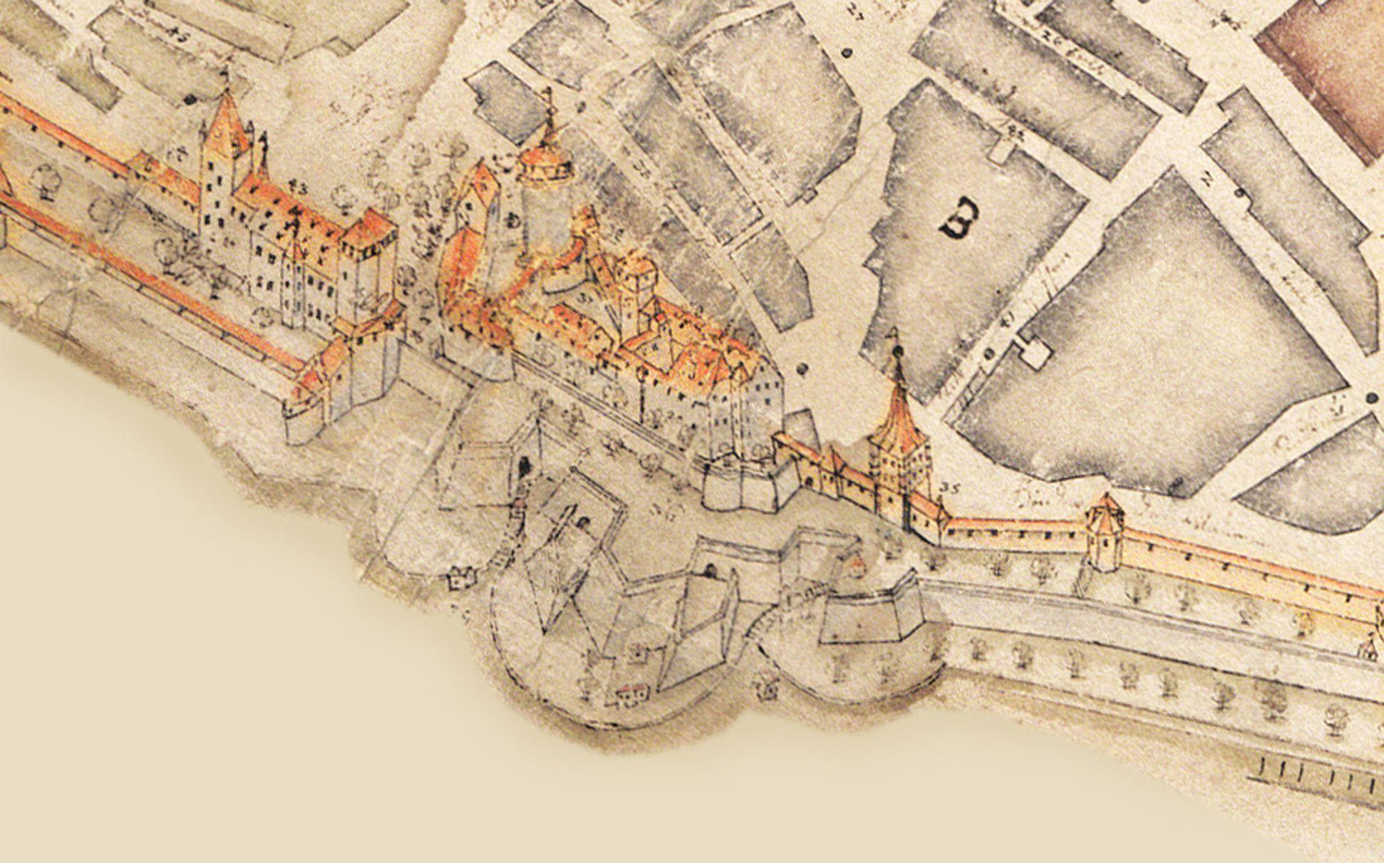 """""""Diese Stadt Nürnberg in ihrer Ringmauern....."""" auf die Senkrechte gebrachtes Detail des Burgbereiches"""