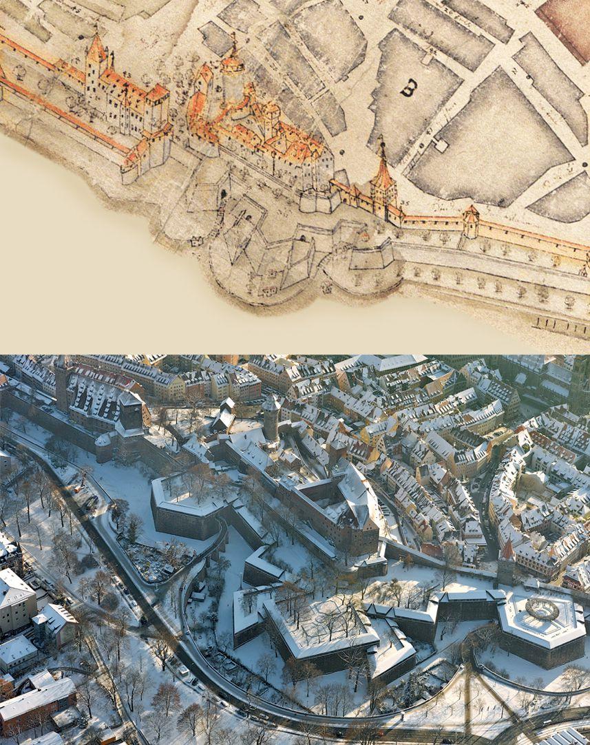 """""""Diese Stadt Nürnberg in ihrer Ringmauern....."""" Gegenüberstellung Bien und Luftfoto"""