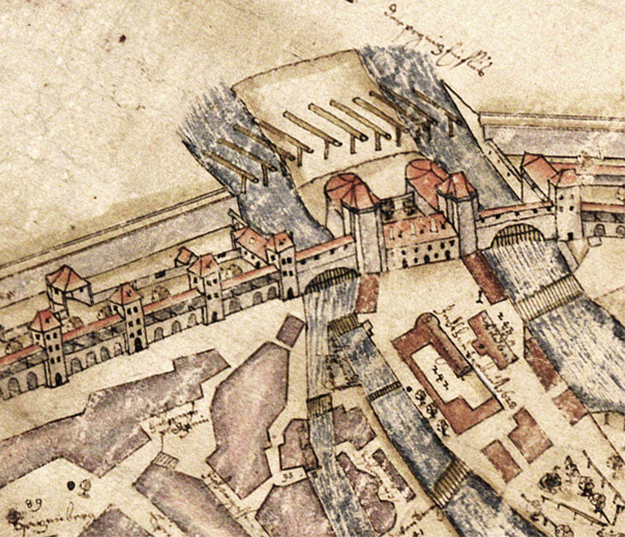 """""""Diese Stadt Nürnberg in ihrer Ringmauern....."""" Pegnitzeinfluß, Kasemattentor und Kanonentürme von 1559 sowie Eisbrecher (von Nordwesten)"""