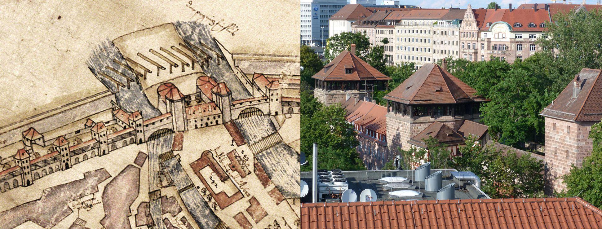 """""""Diese Stadt Nürnberg in ihrer Ringmauern....."""" Gegenüberstellung Bien mit Foto (von Südwest)"""