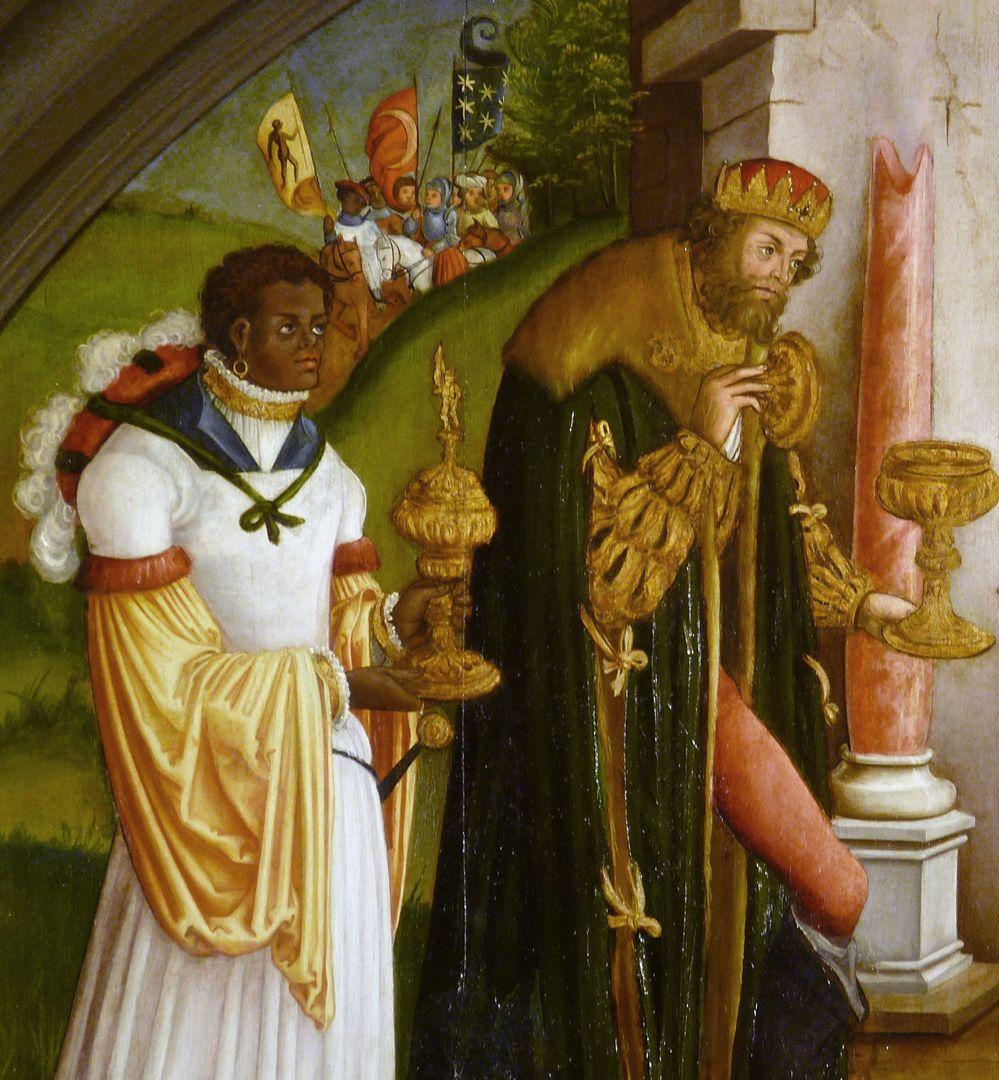 Anbetung der Könige Der mittelalte und der jüngste Magier mit ihren Gefäßen.