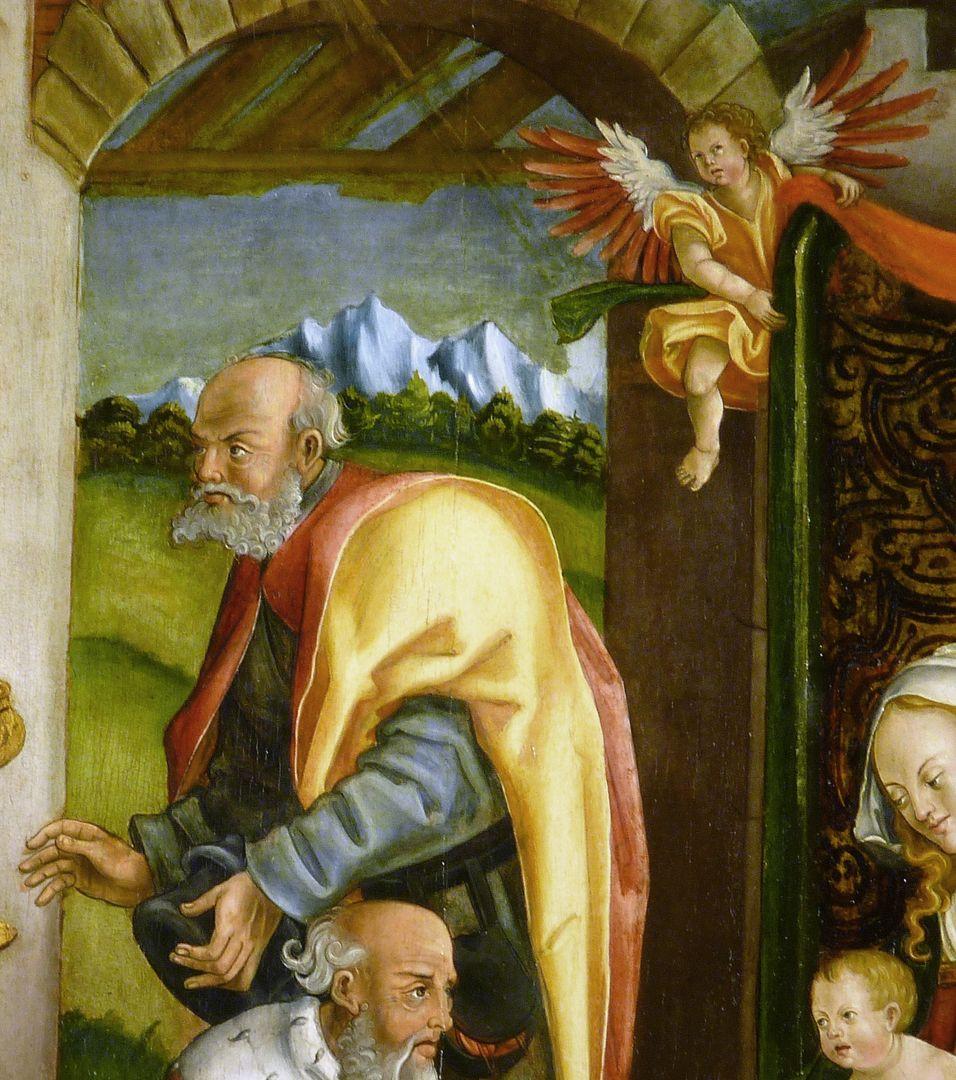 Anbetung der Könige Joseph und ein vorhanghaltender Engel