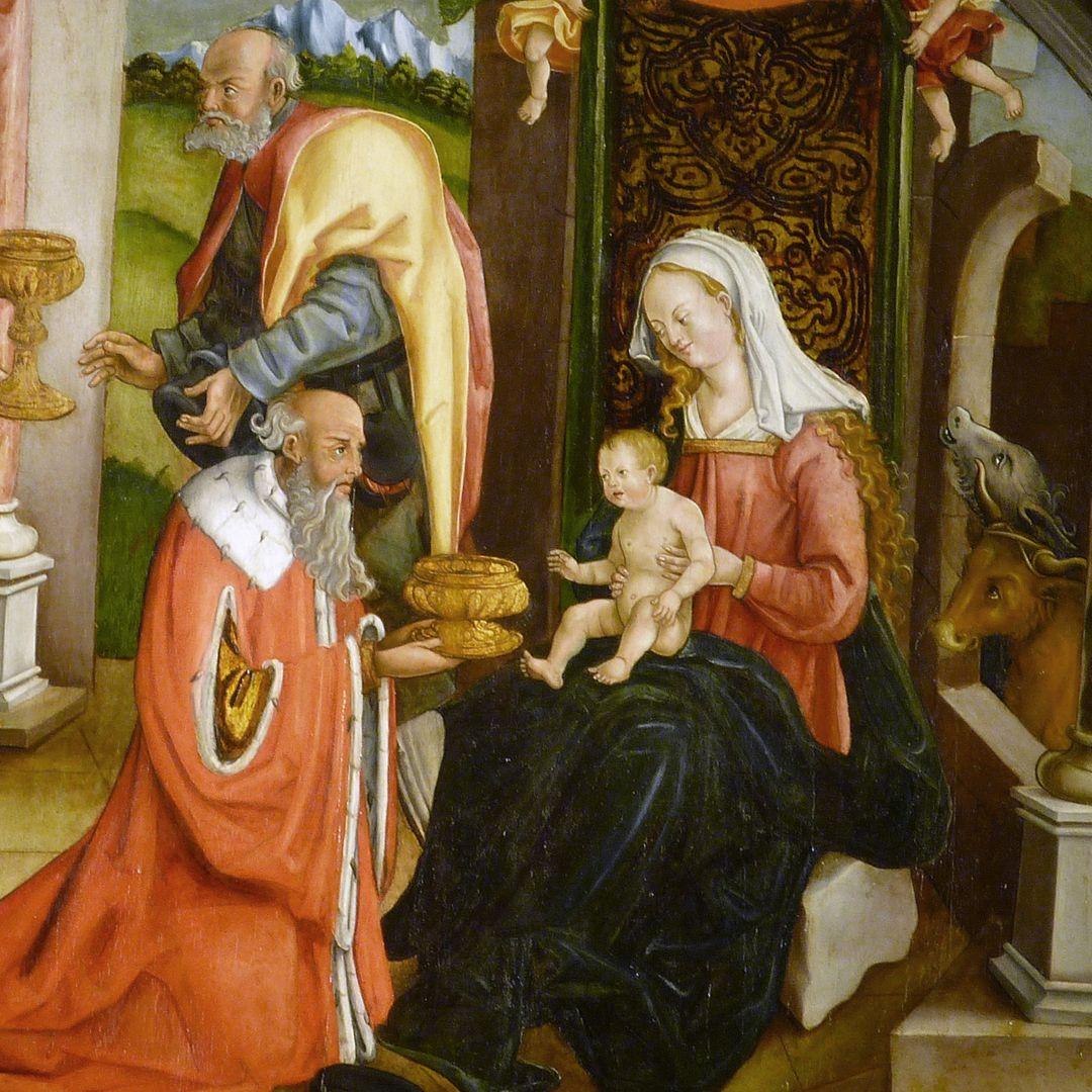 Anbetung der Könige Jesuskind wendet sich dem ältesten Magier zu