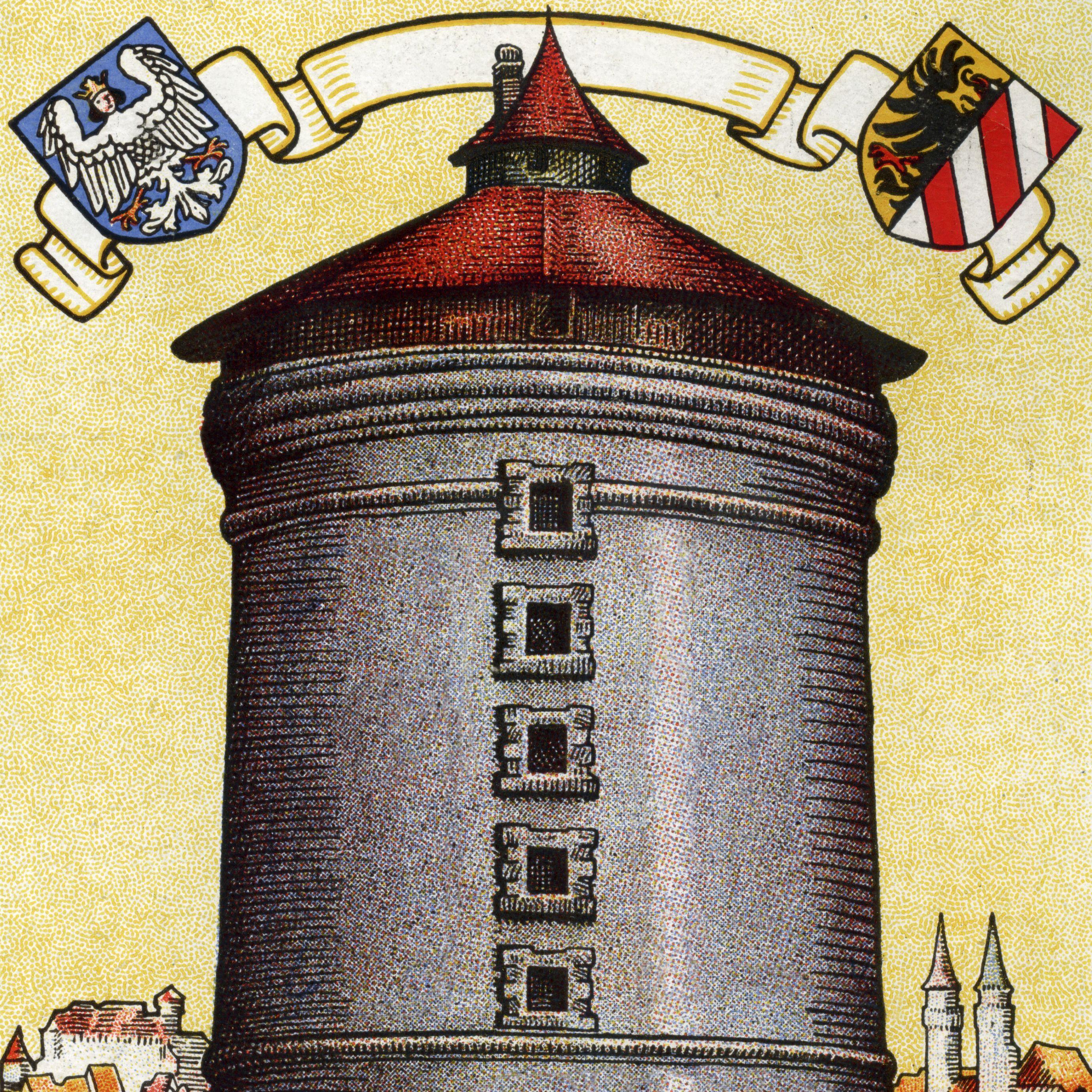 So steht im Vertrauen der Bevölkerung die Nürnberger Sparkasse Turm, oben Wappen der Stadt Nürnberg; links Großes Stadtwappen: Jungfrauenadler / rechts Kleines Wappen: Reichsadler mit Weiß und Rot geschrägtem Schild
