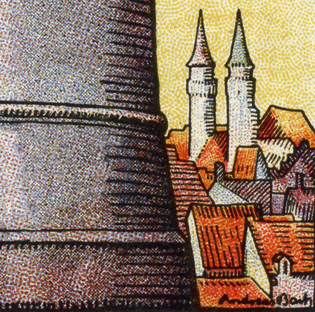 So steht im Vertrauen der Bevölkerung die Nürnberger Sparkasse rechts: Stadtansicht mit Sebalduskirche, unten die Signatur des Künstlers