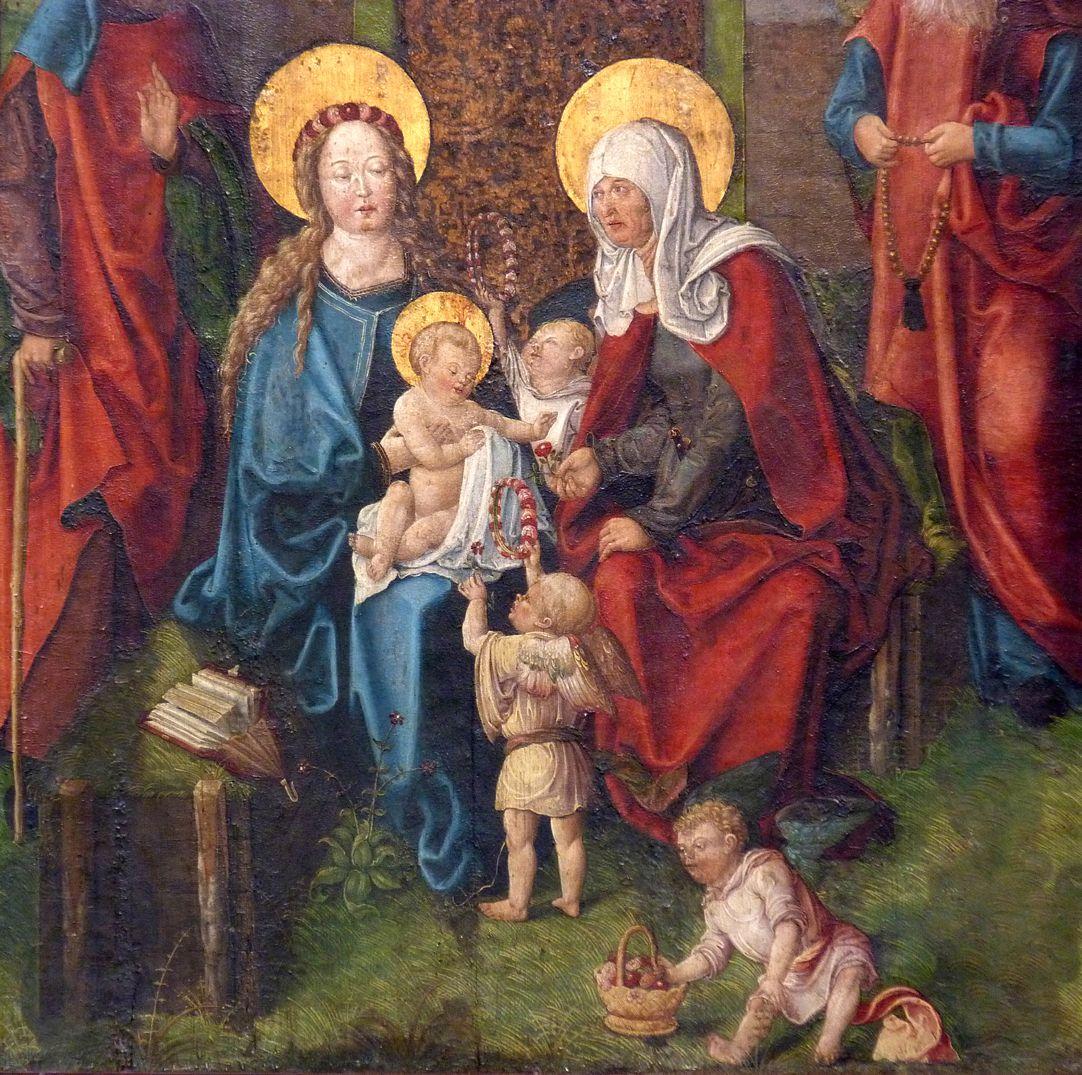 Heilige Sippe Maria, Anna und das Jesukind mit drei Engeln