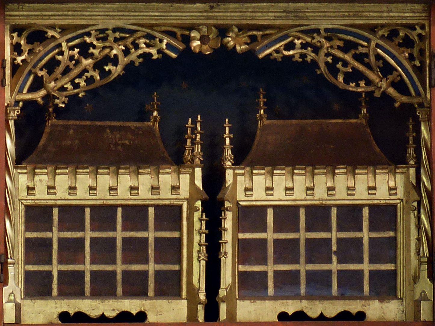 Annenaltar Predella, hausförmige Reliquienschreine